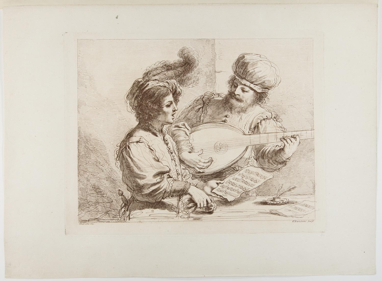 Man Playing the Lute and Singing Man