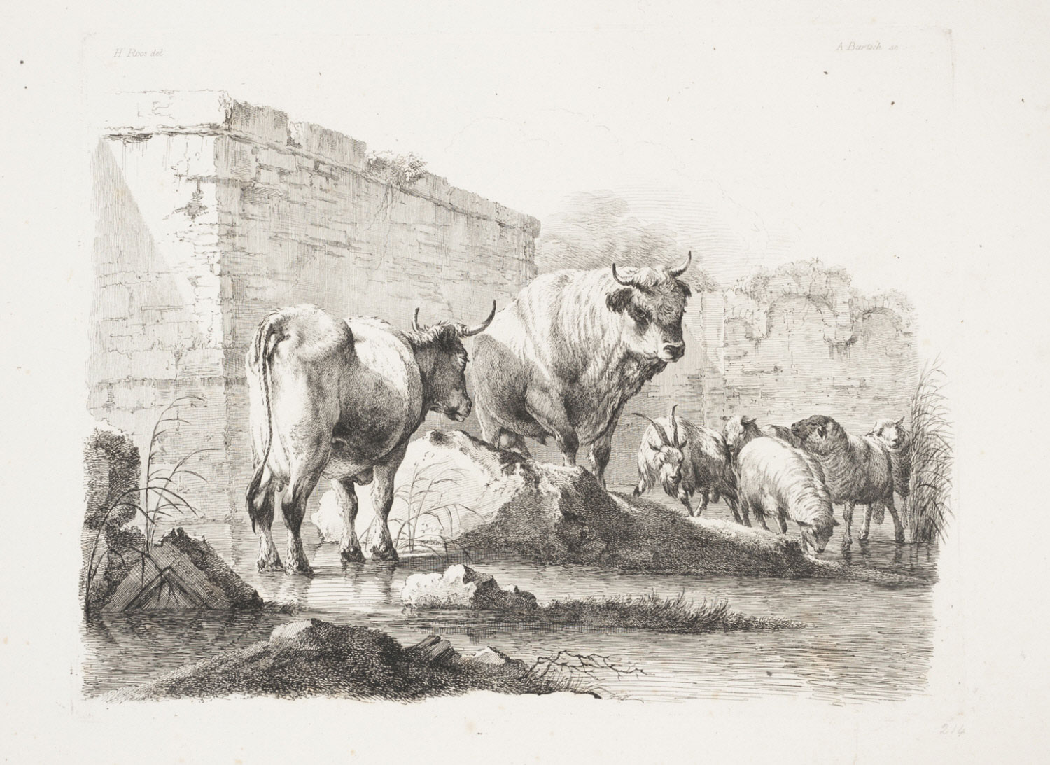 A Cow, a Bull, Sheep, and a Goat by a Stream