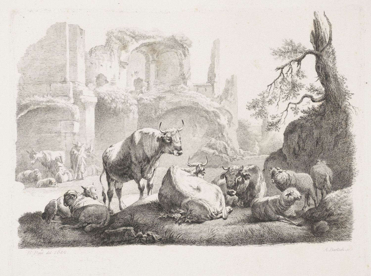 Cattle and Sheep Resting by Ruins