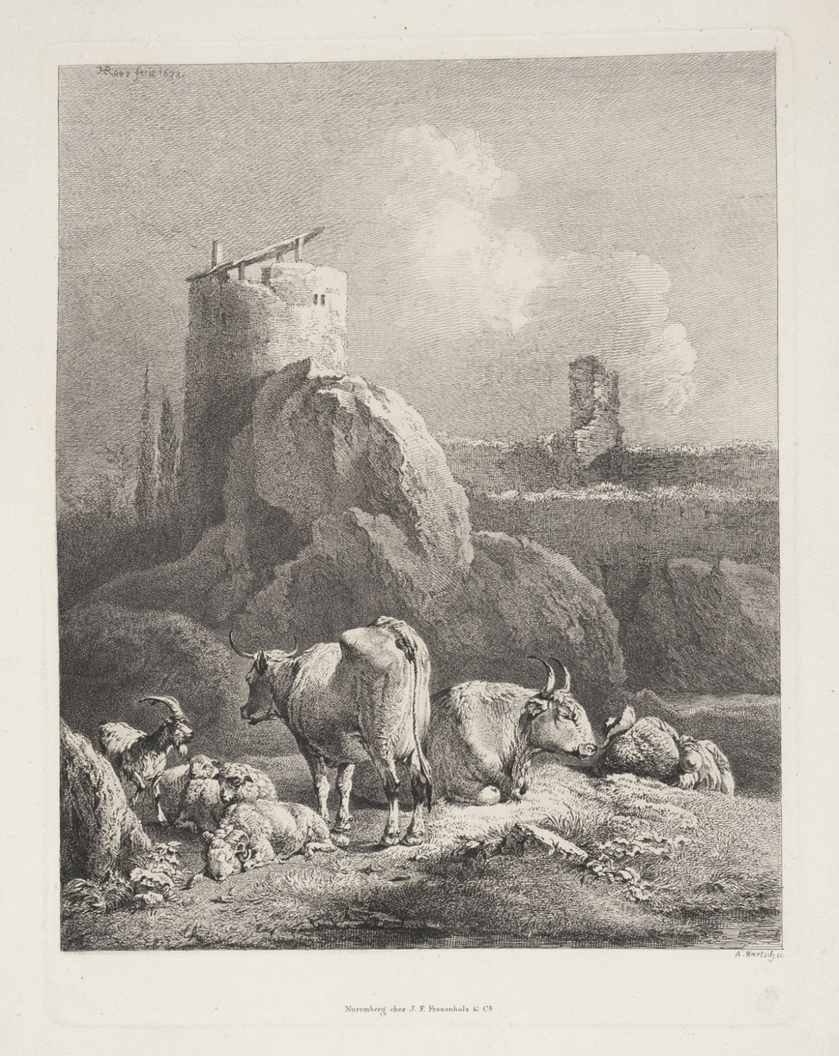 Cattle and Sheep before a Round Tower