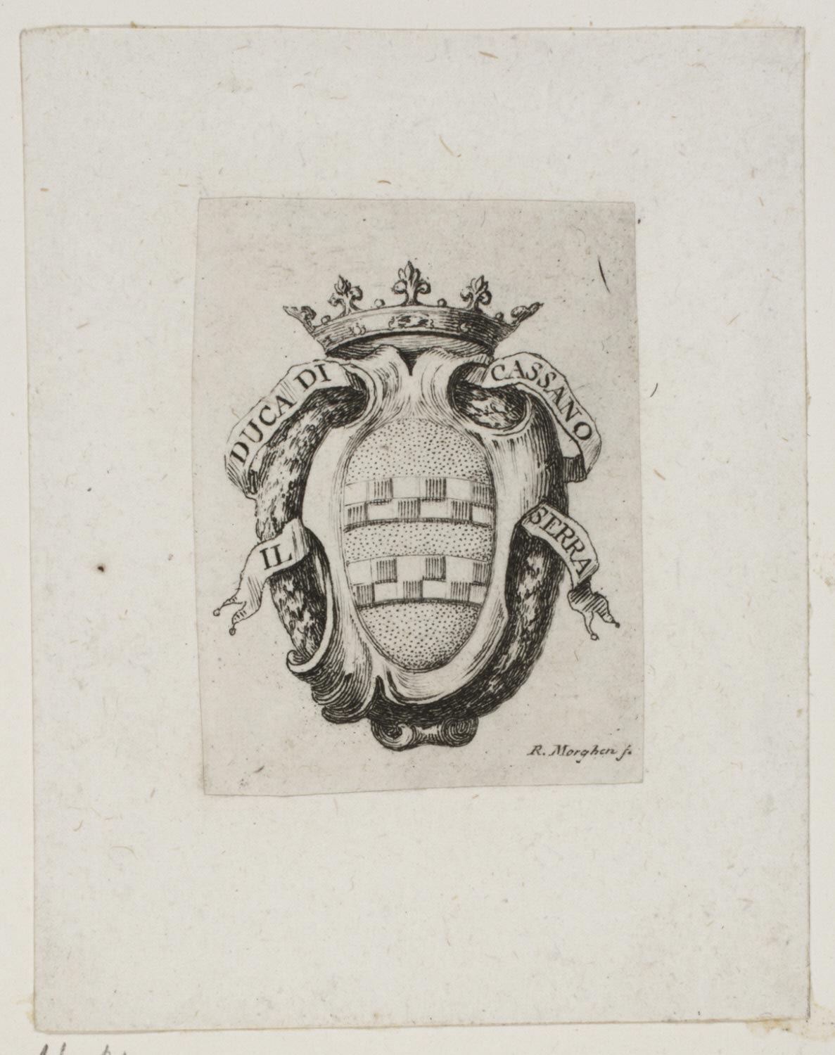Book Plate with Coat of Arms of the Duke of Cassano Serra