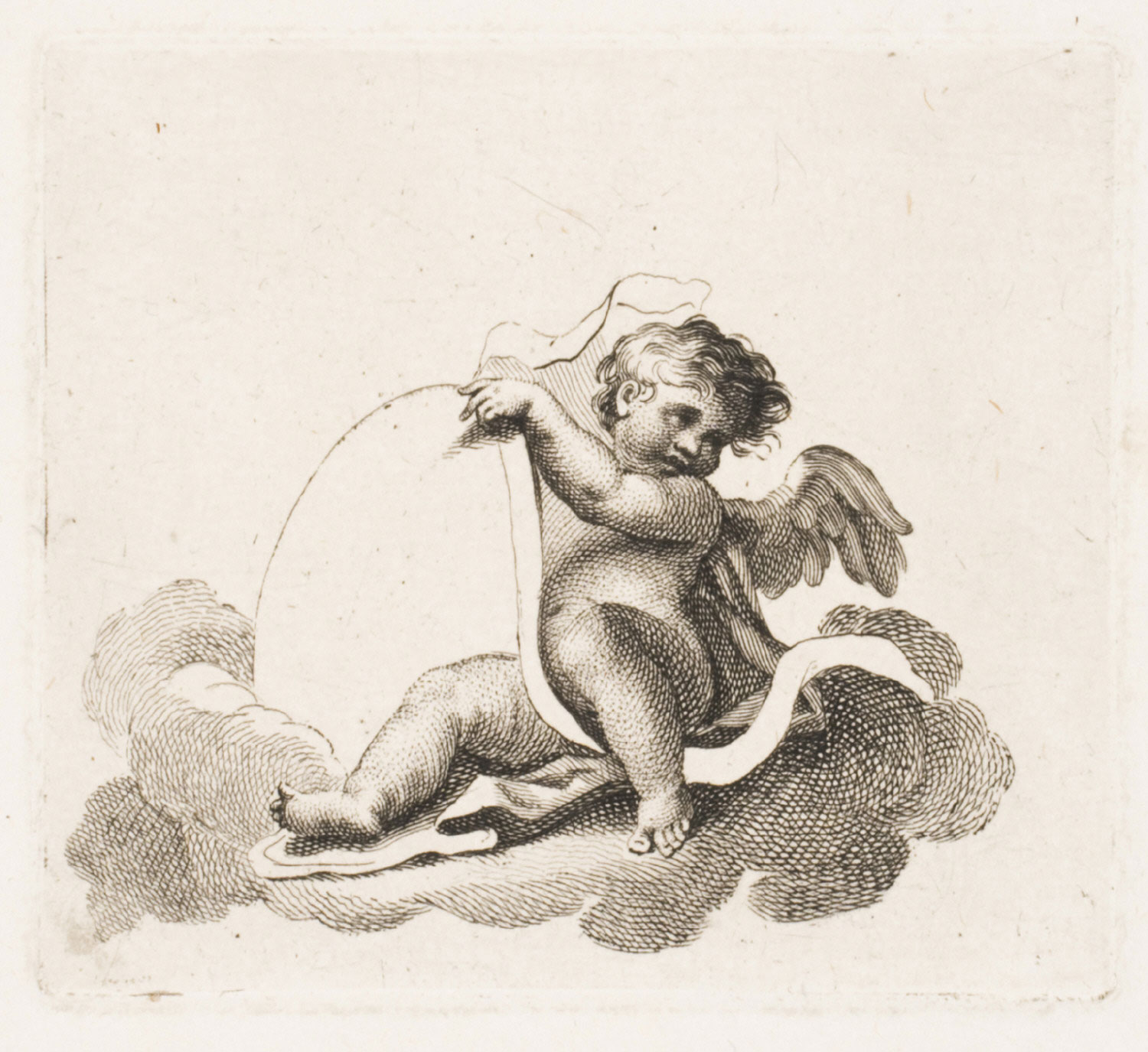 A Cherub, Seated among Clouds (Design for Ticket or Trade Card)