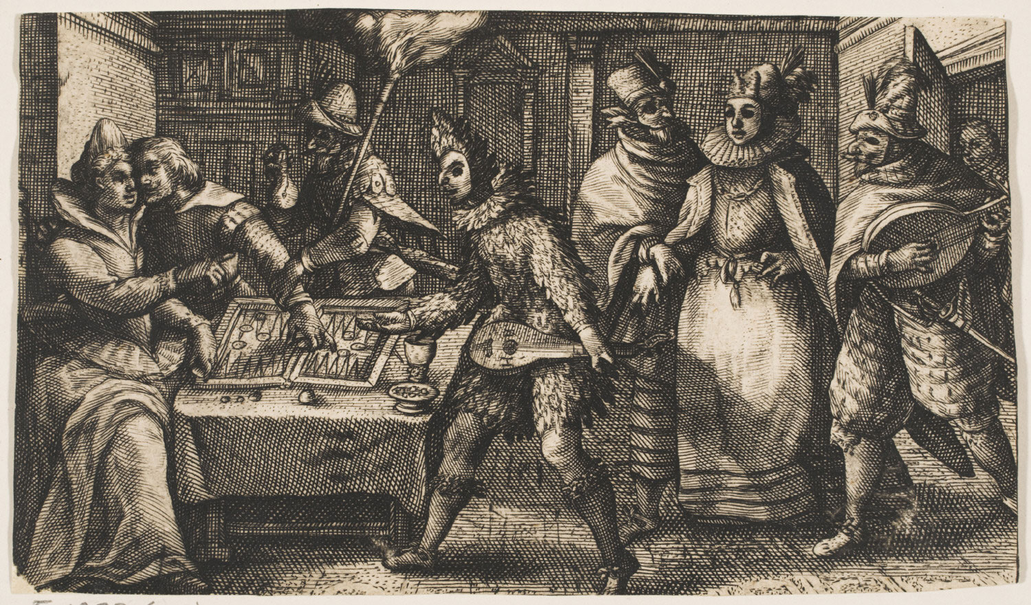 A Couple Playing Backgammon, Surprised by Five Masked People