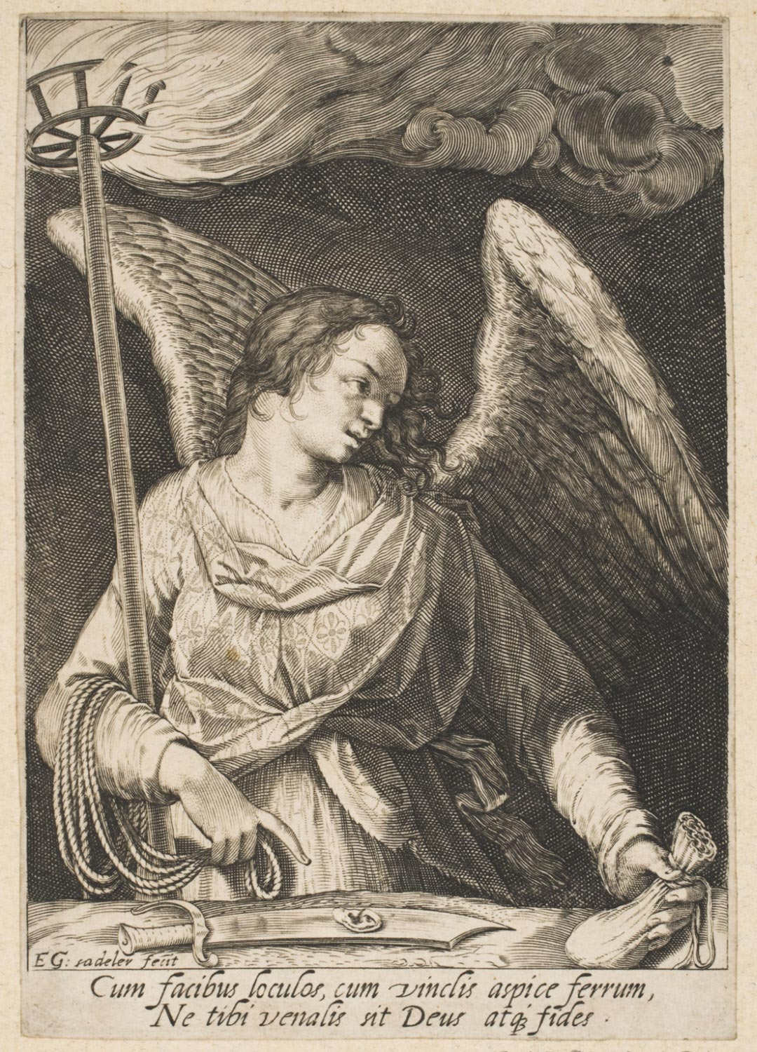 Angel with the Torch, the Purse of Coins and the Sword