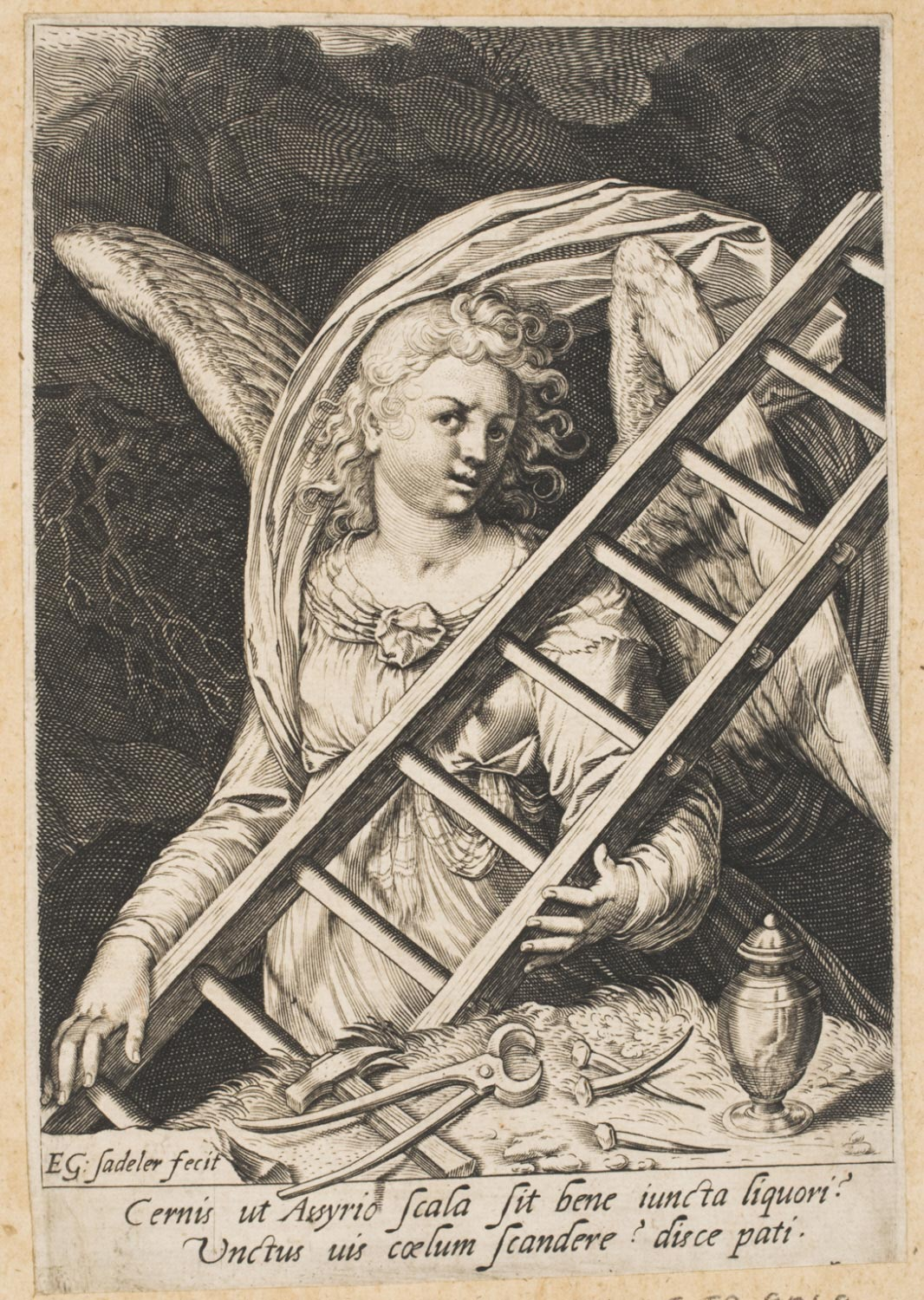 Angel with the Ladder, Tools, Nails and Ointment Jar