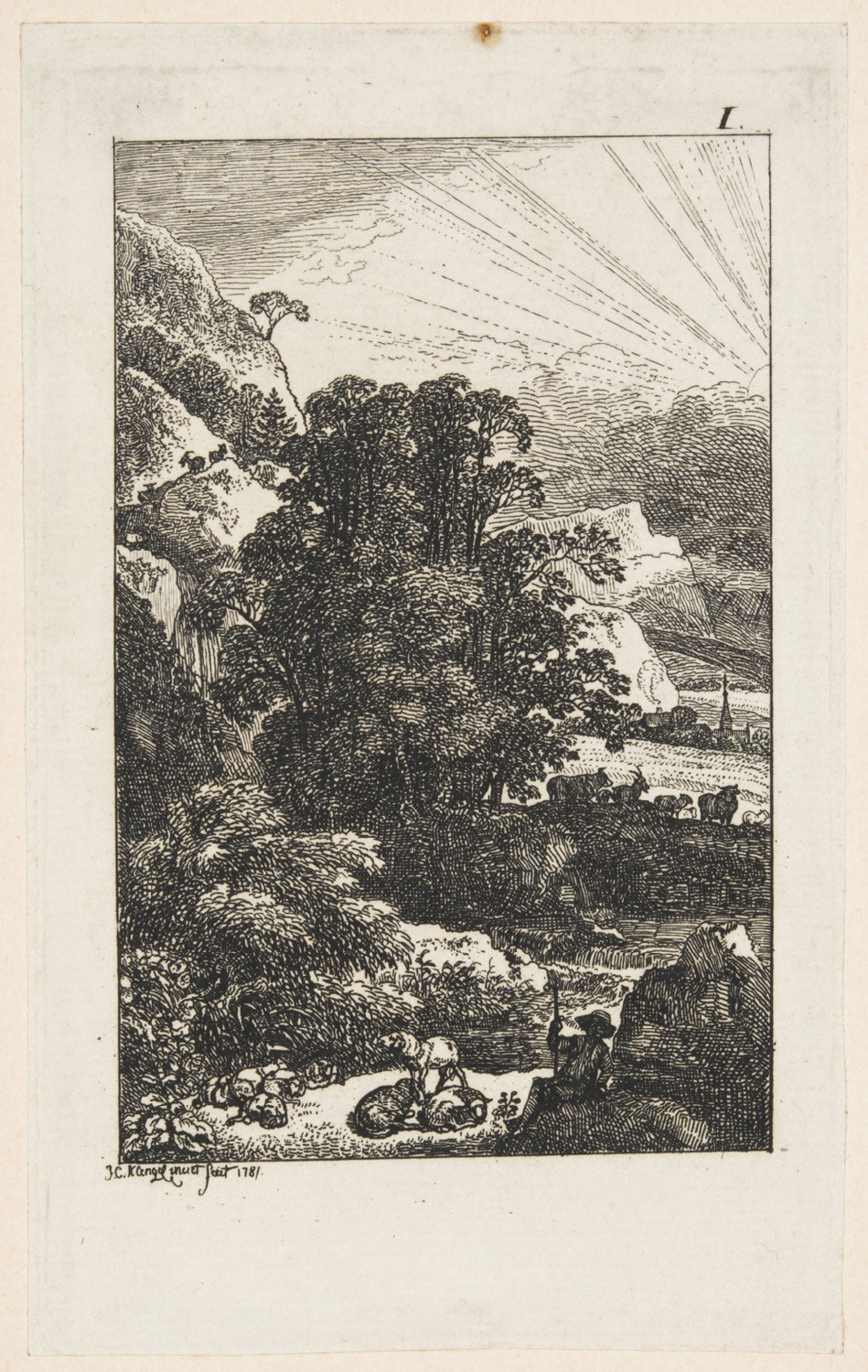 Clearing Thunderstorm in a Rocky Landscape, with a Shepherd Resting with His Flock