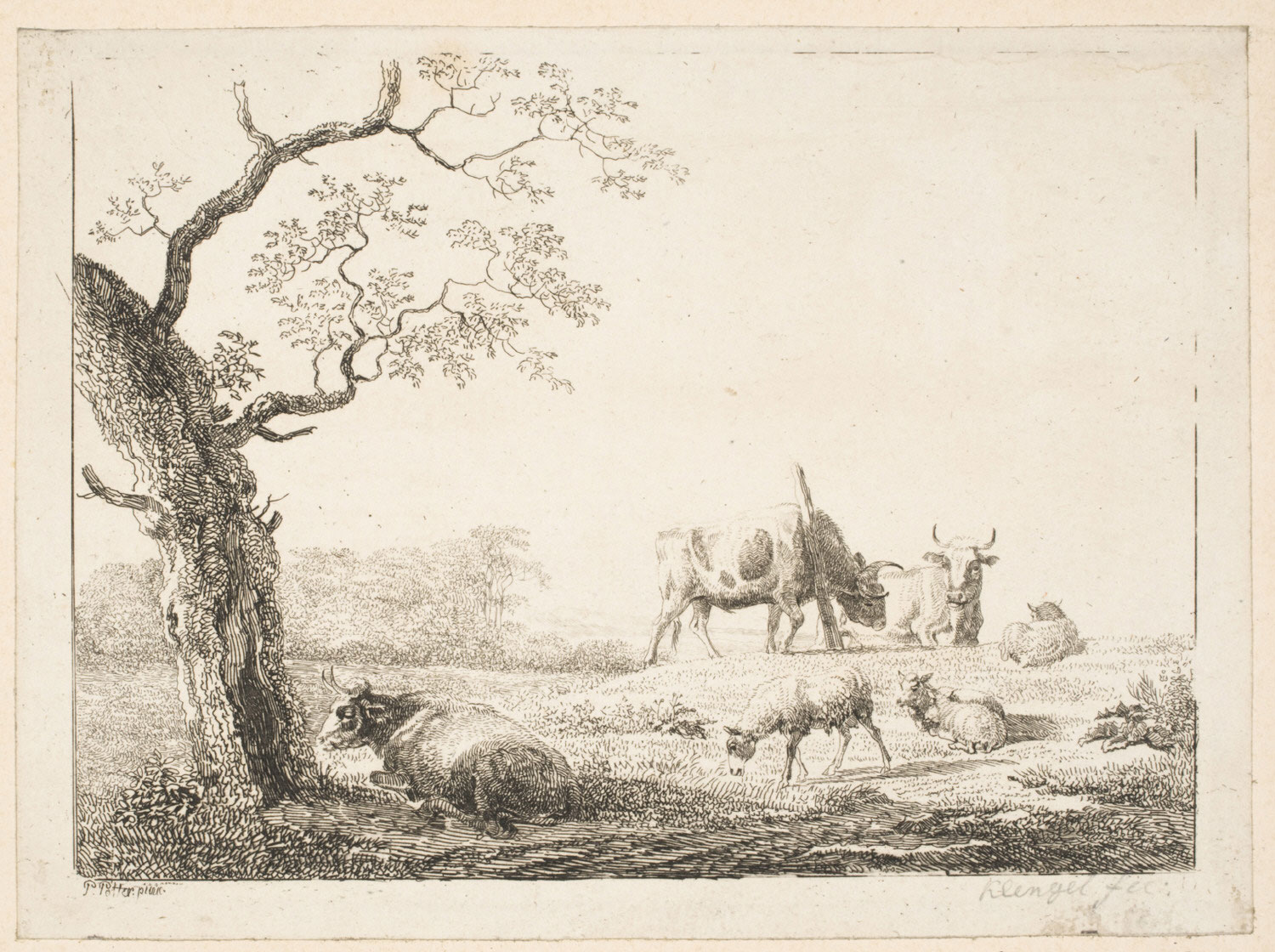 Broad Landscape with Steer, Cows, and Sheep