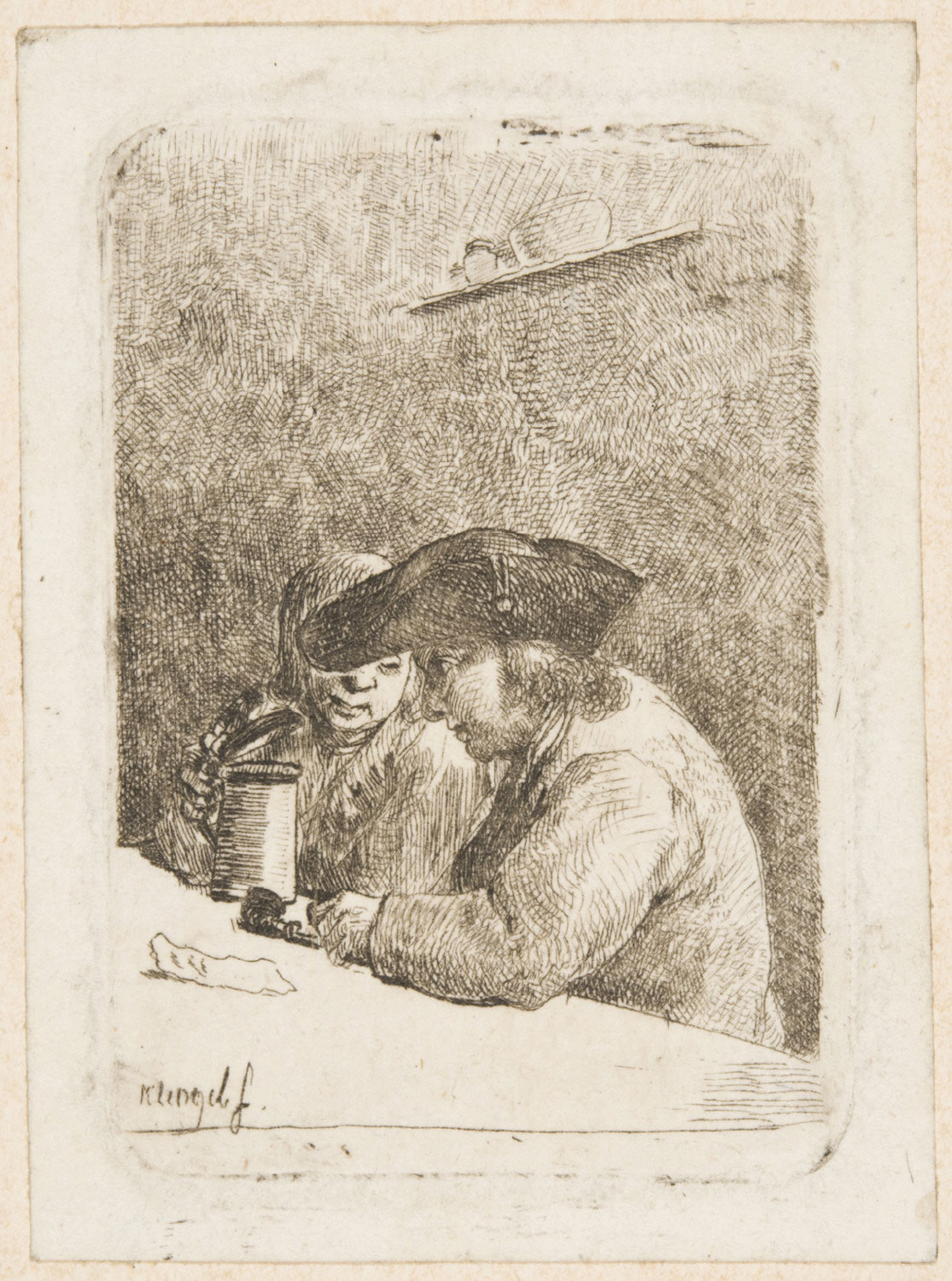 Two Young Men Seated at a Table, One with a Beer Stein