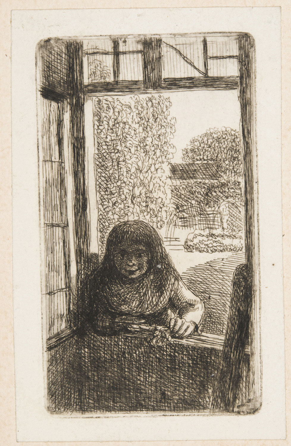 Boy (or Girl?) Holding a Flower, Leaning in from a Garden on a Window Sill