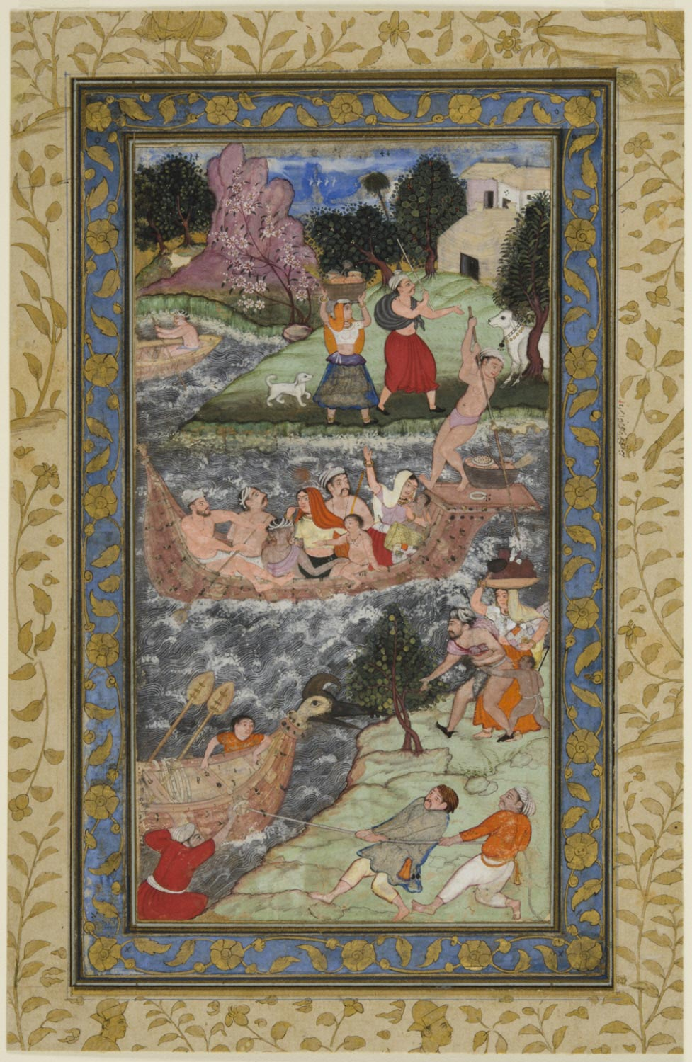 Babur and His Men Cross the River at Bilah, Near Multan