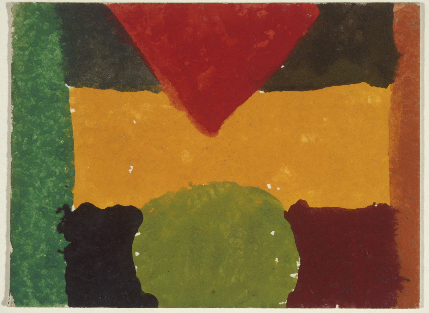 Abstract Study with Red Triangle, Yellow Bar, and Green Circle