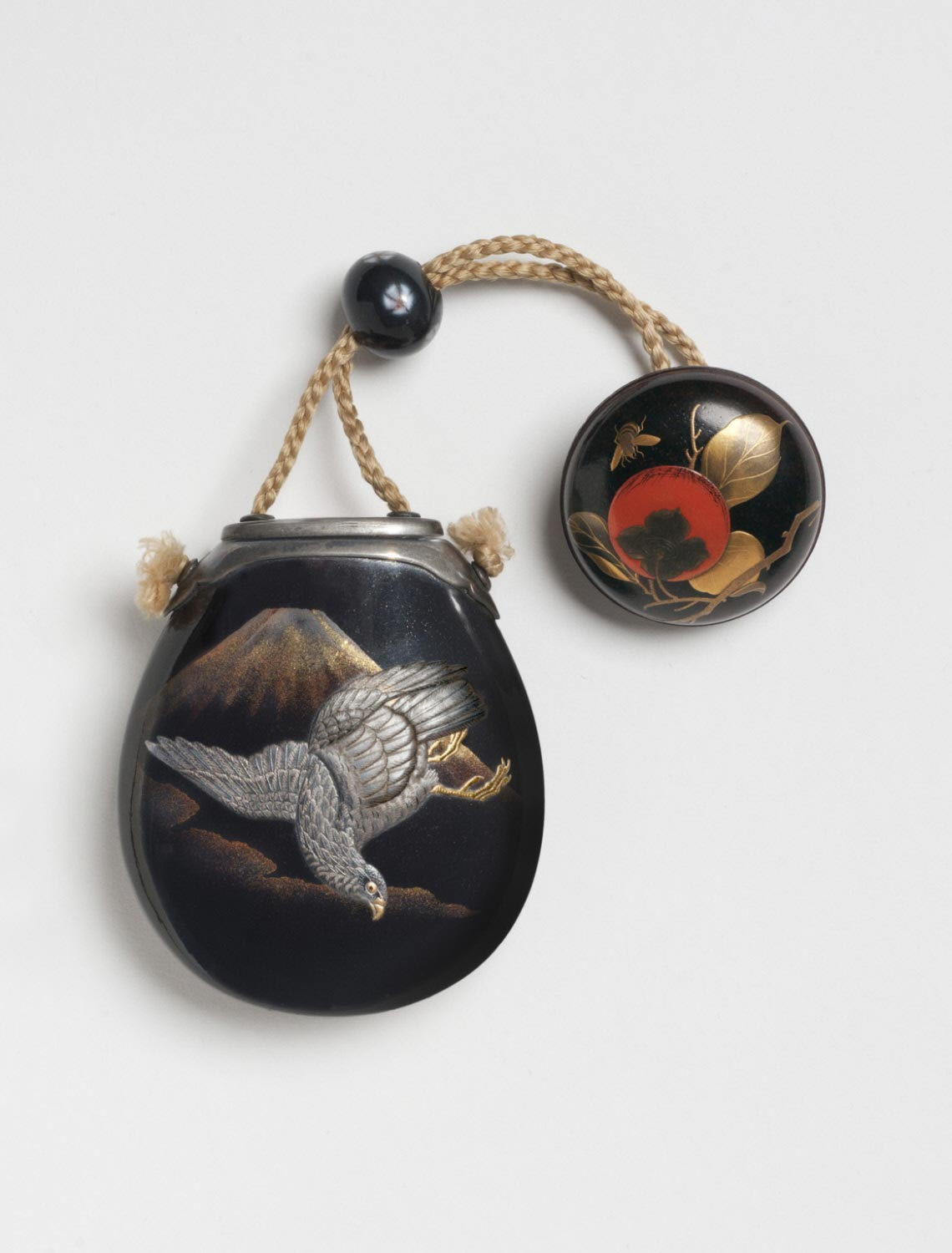 Inro in the Form of an Eggplant with Mount Fuji and a Falcon