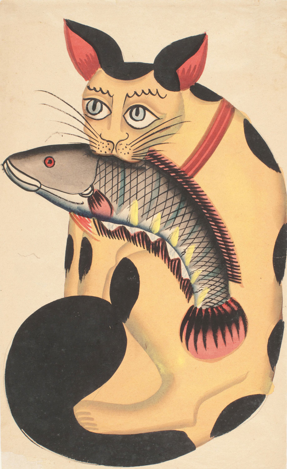 Souvenir Painting of a Cat Eating a Fish