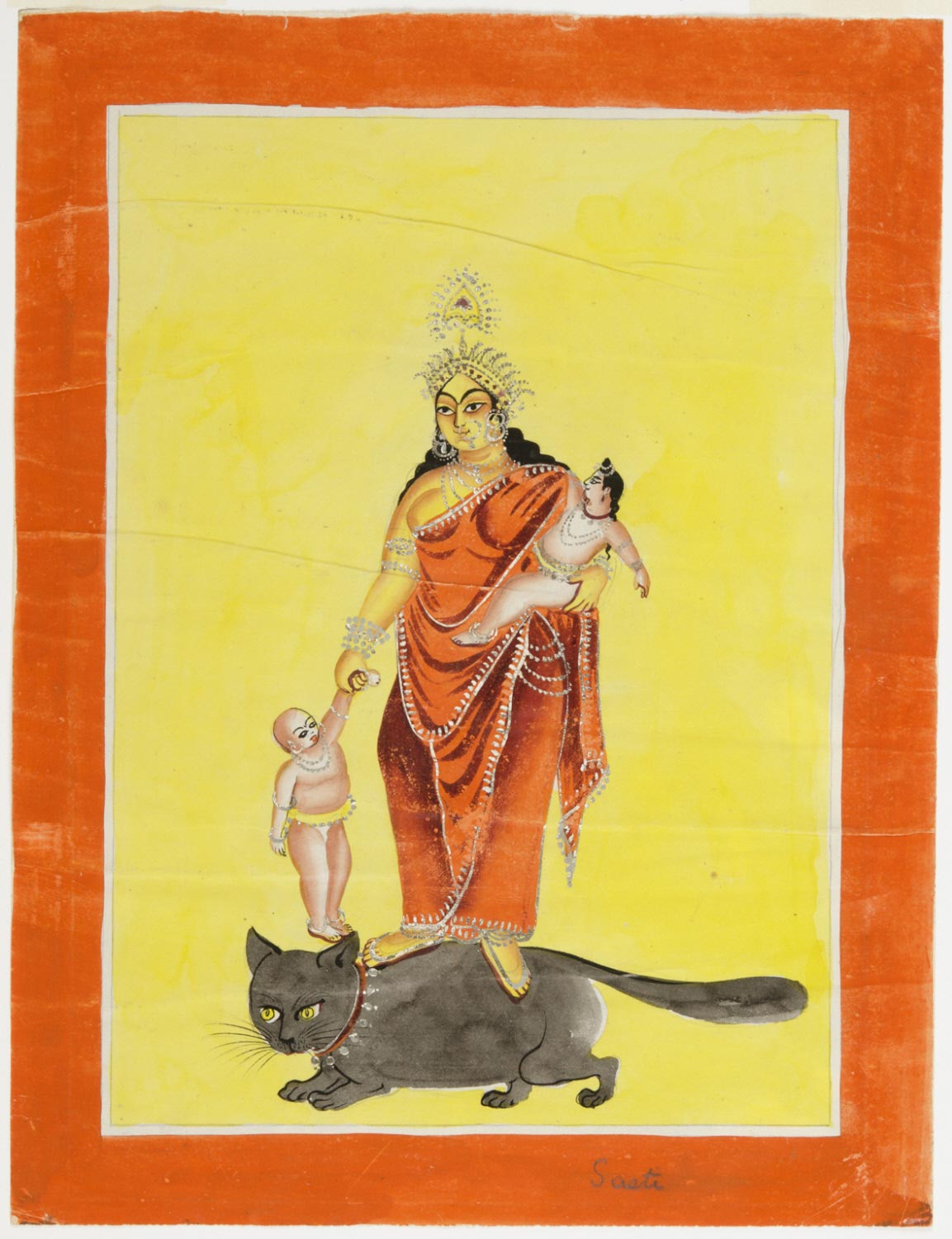 Souvenir Painting of the Goddess Shashthi on a Cat