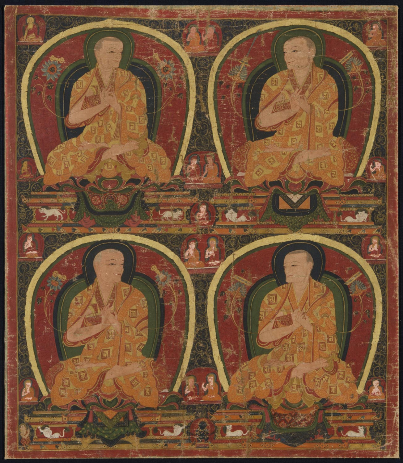 Four Sakya Lamas in Light Robes with Lam-dre Lineage