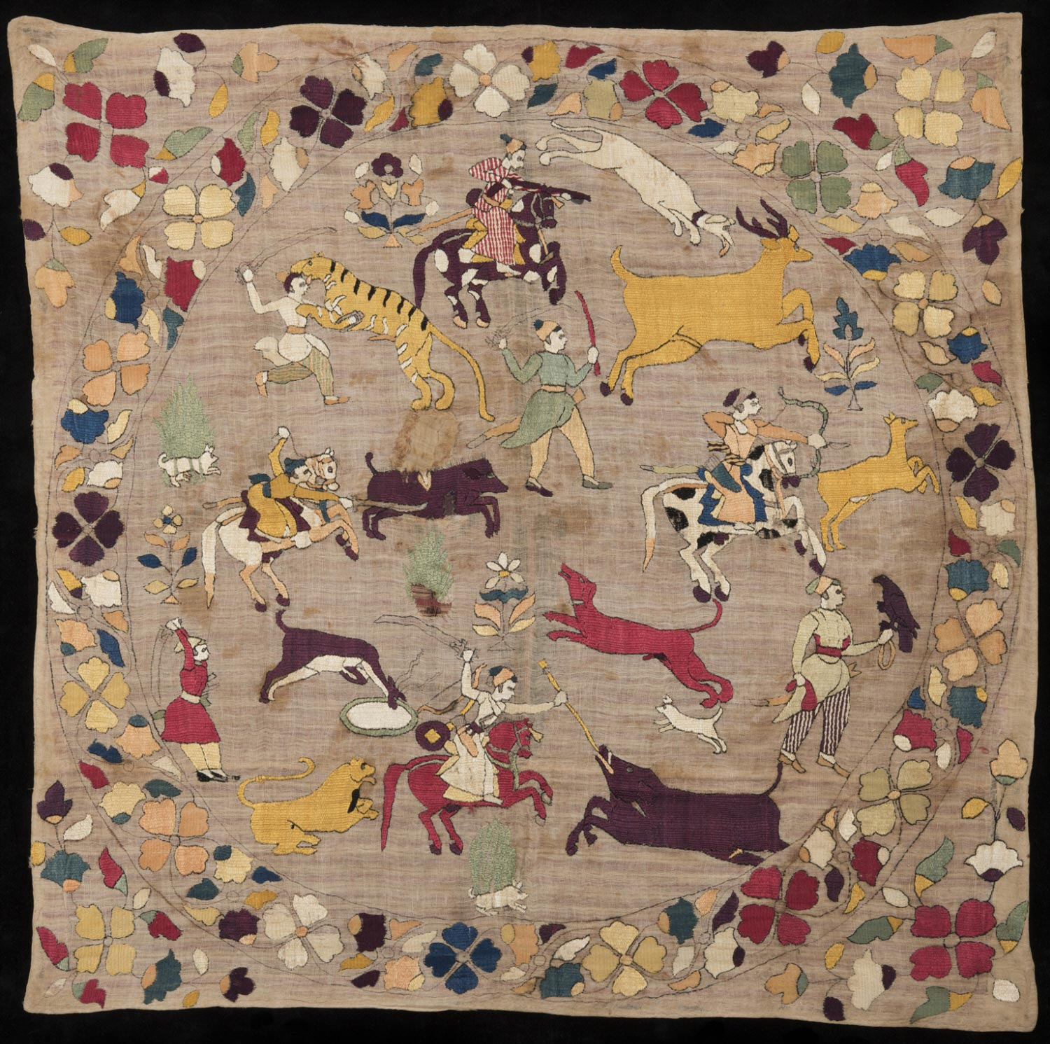 Ceremonial Cover (Rumal) with Hunting Scene