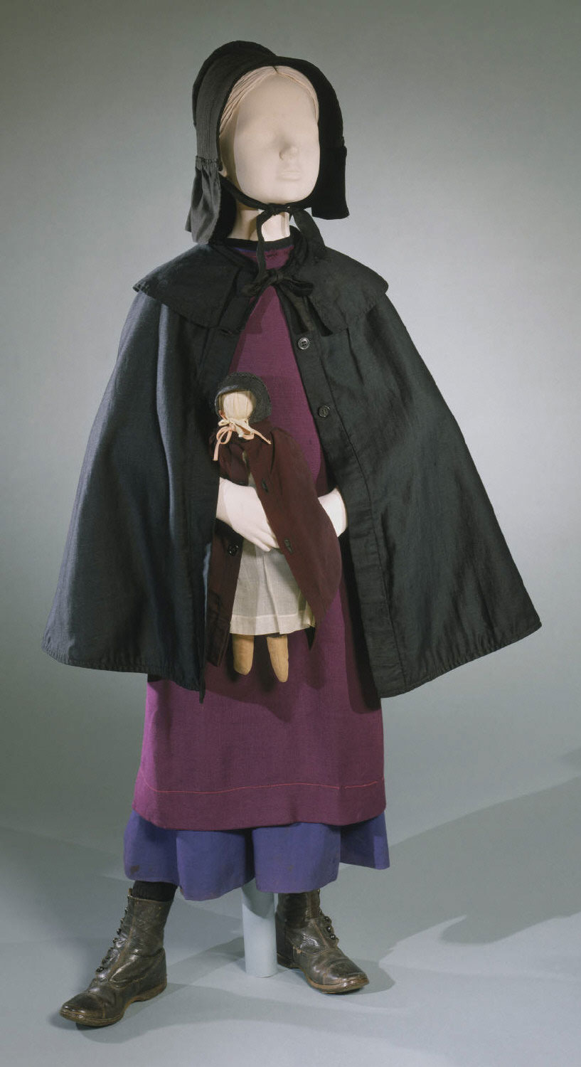 Amish Girl's Ensemble: Dress, Pinafore, Mantle, Bonnet, and Doll