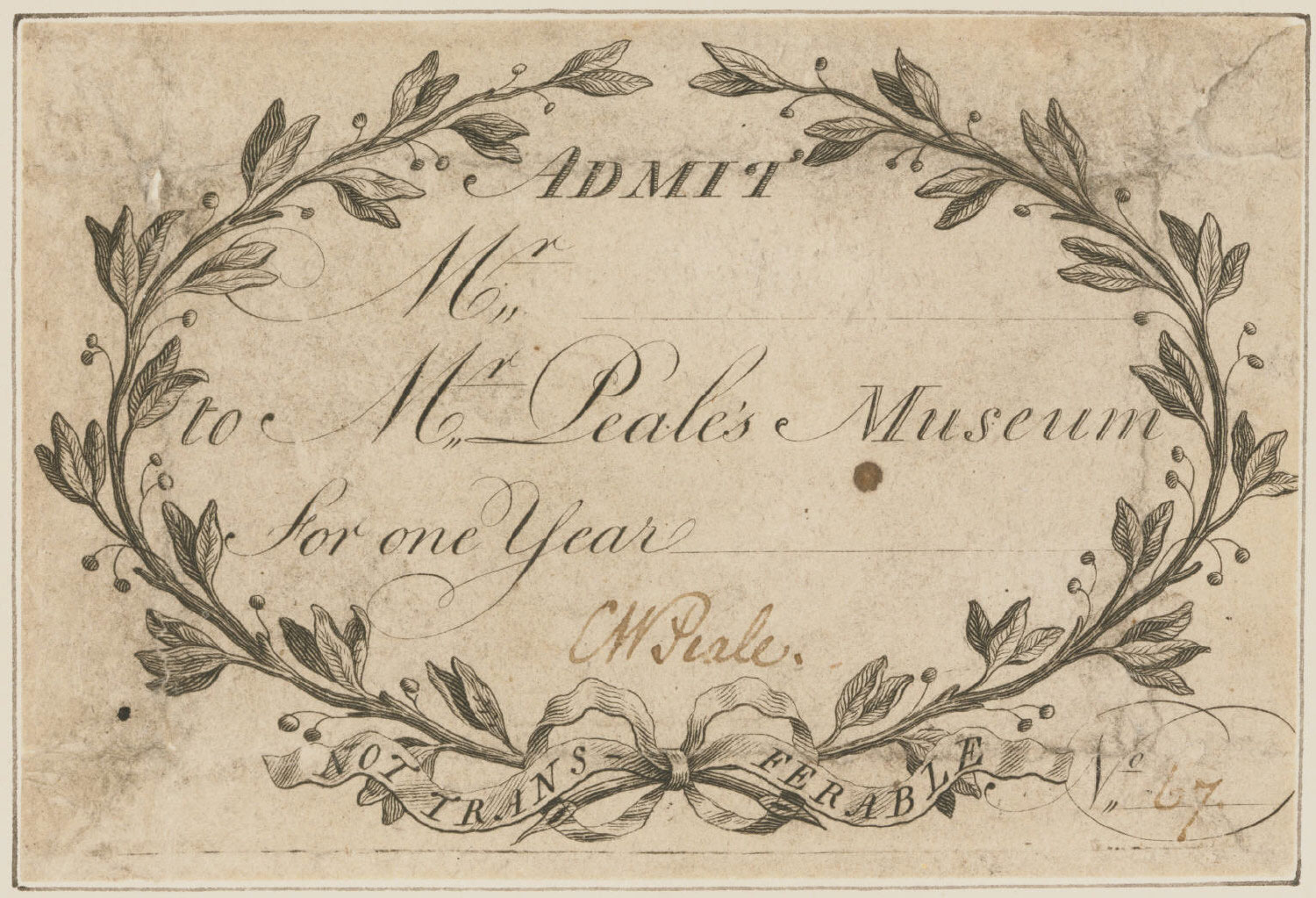 Admission Ticket to Peale's Museum