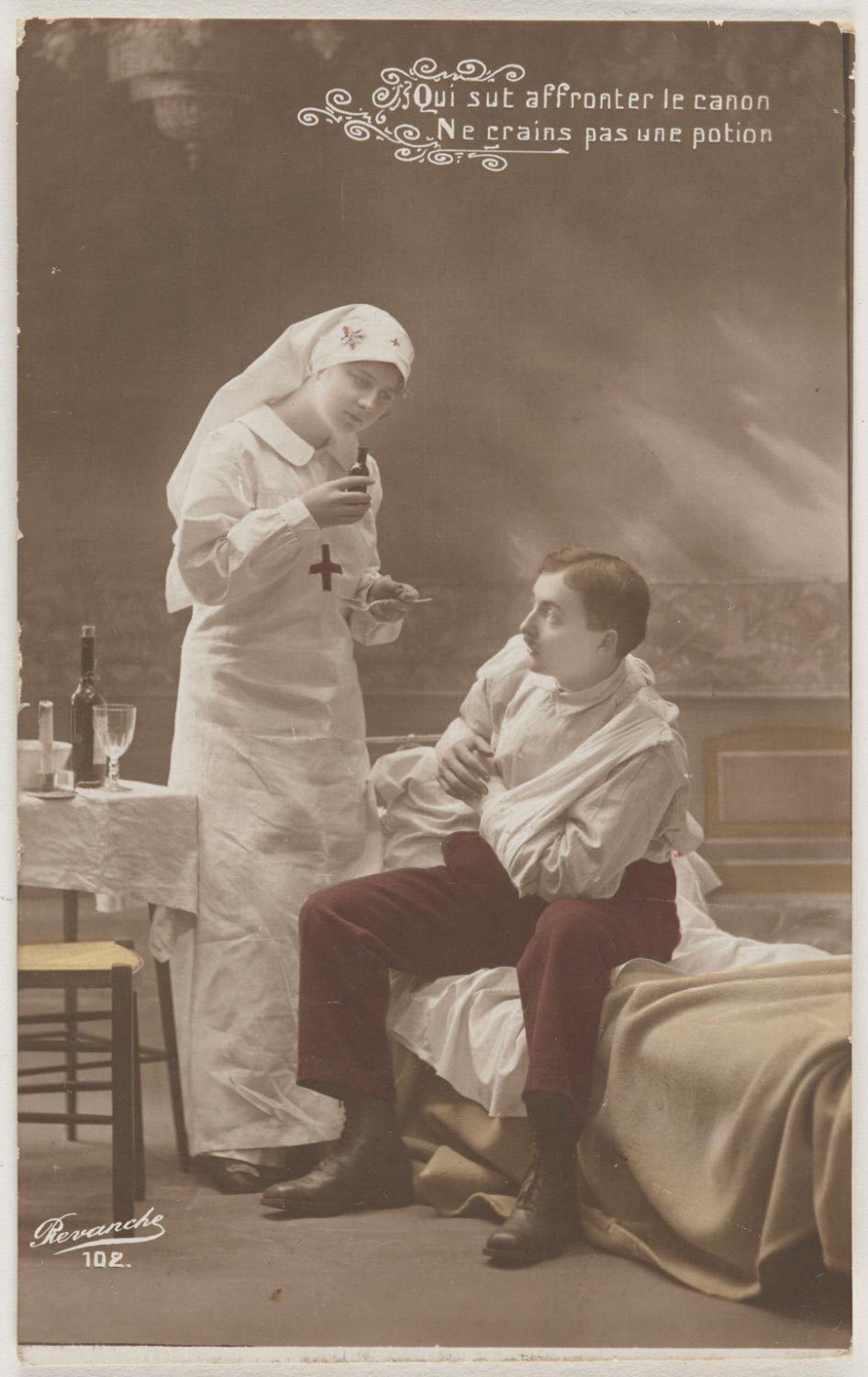 Red Cross Nurse Caring for Soldier