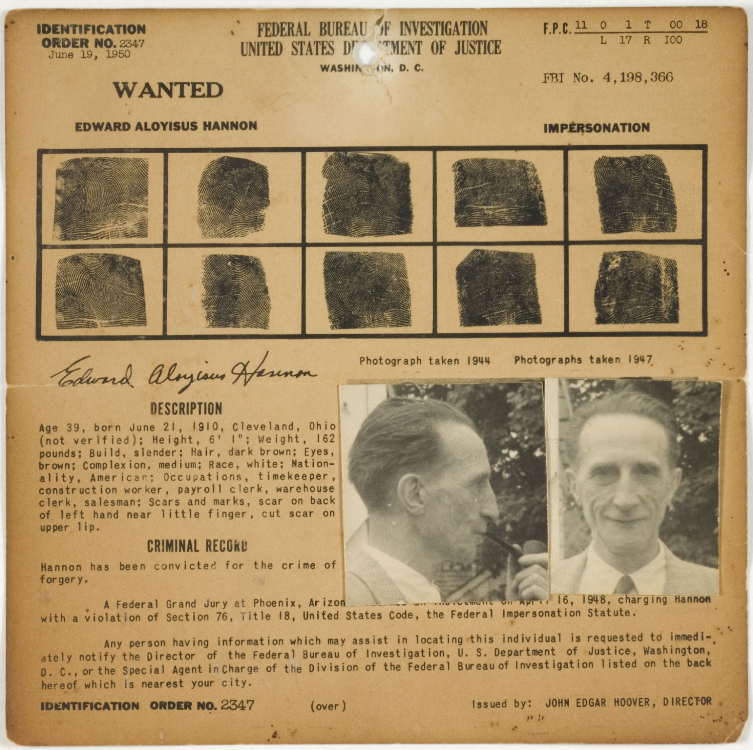 FBI Wanted Notice: Edward Aloyisus Hannon (Marcel Duchamp), Wanted for the Crime of Impersonation