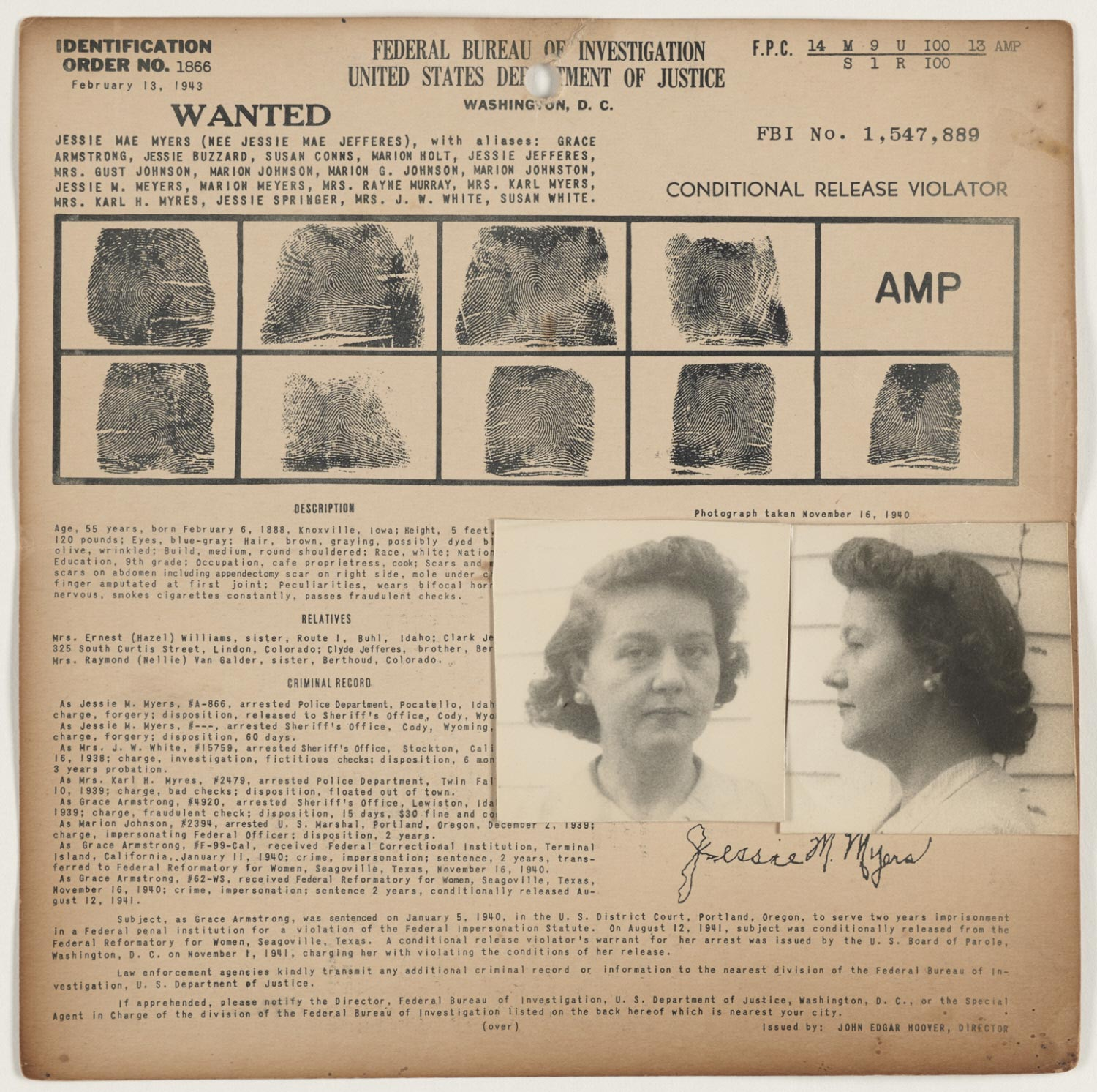 FBI Wanted Notice: Jessie Mae Myers (Claire Donati)
