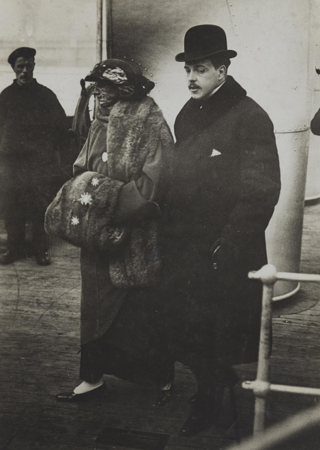 Manuel II, Deposed King of Portugal, and His Wife, Returning from Their Honeymoon