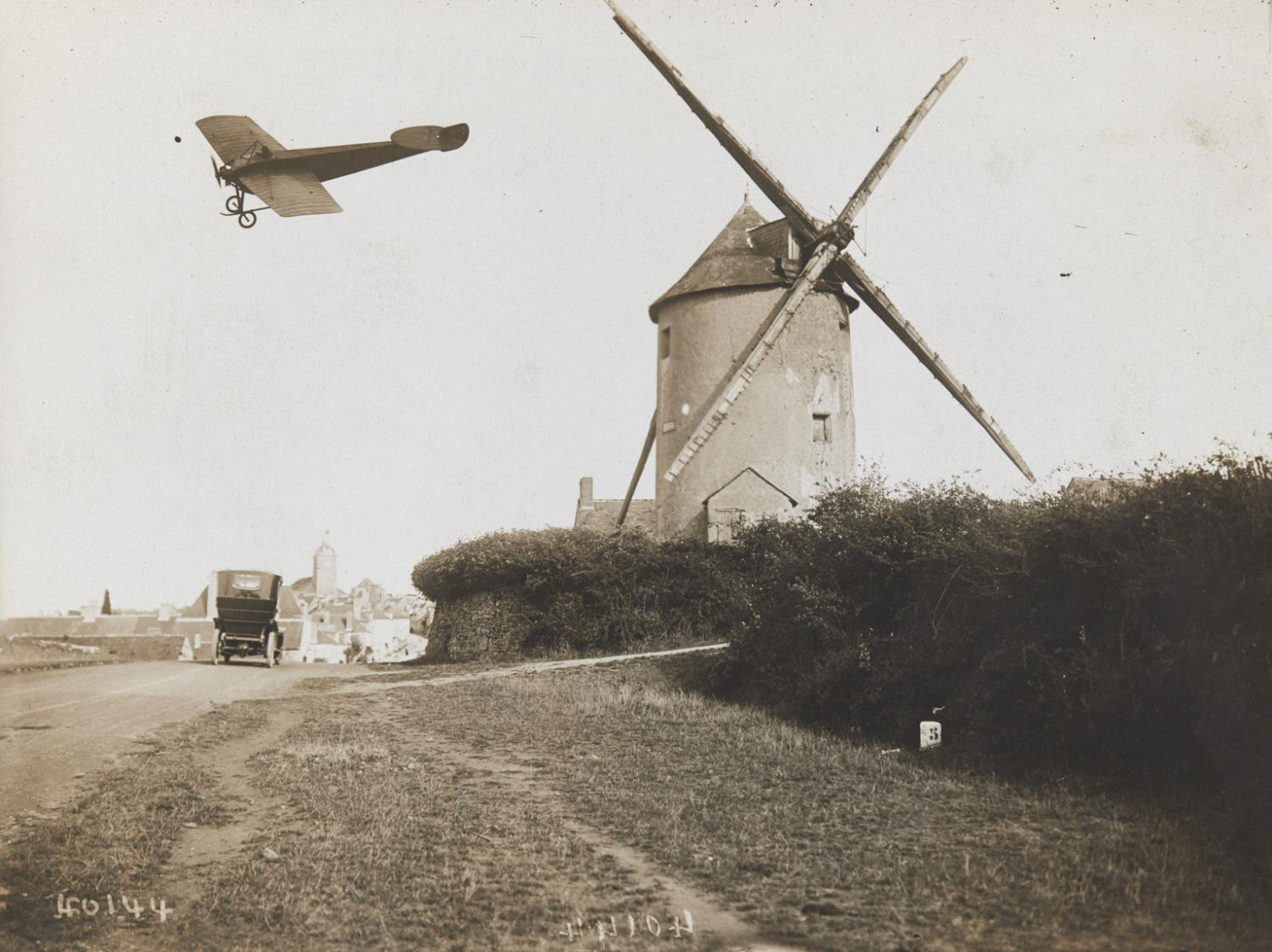 Grand Prix d'Anjou: Espanet in His Nieuport Passing Over the Windmill of Couture