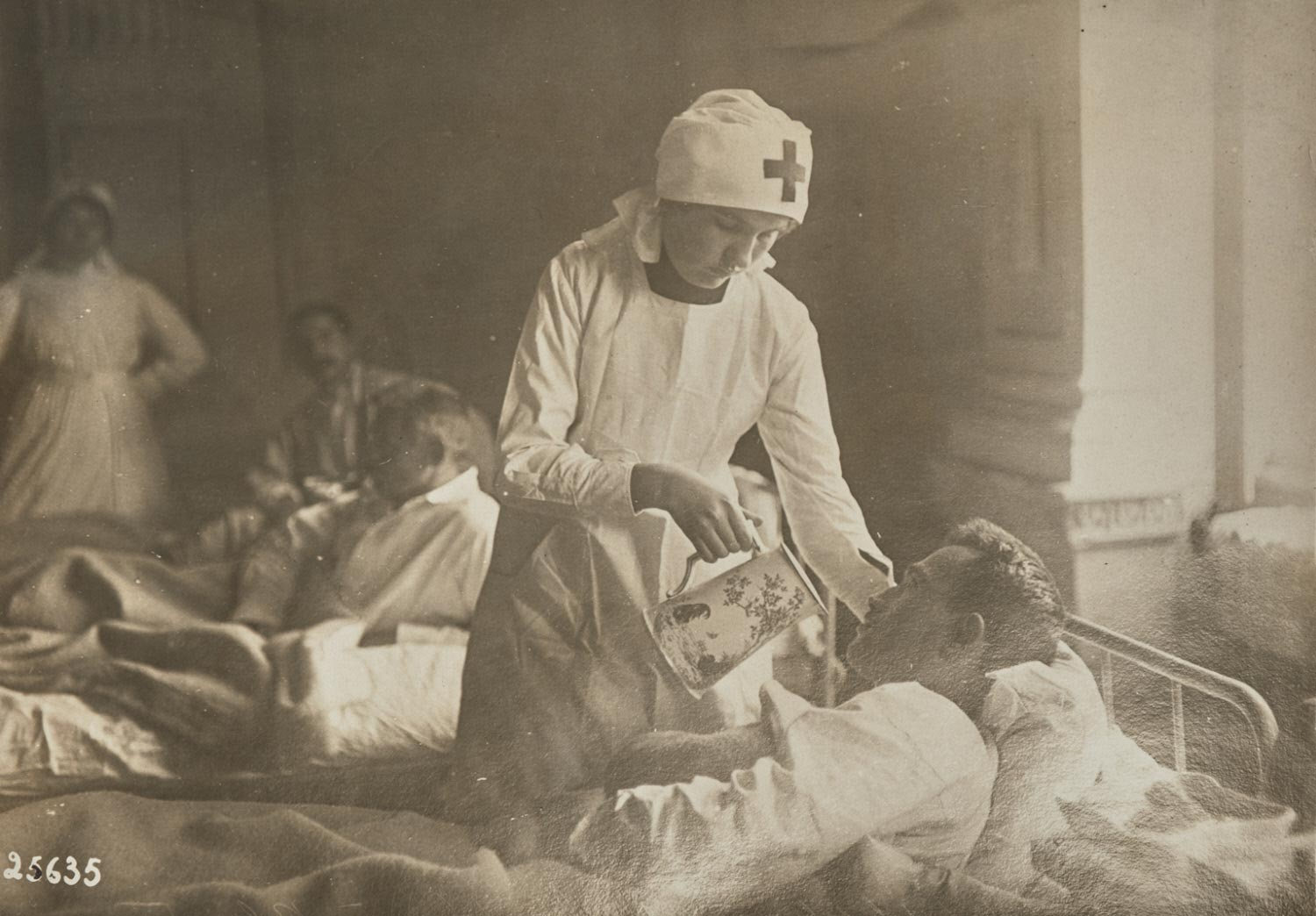 Balkan War: the Serbian Hospital in Belgrade, where the Wounded are Tended by Ladies of High Society