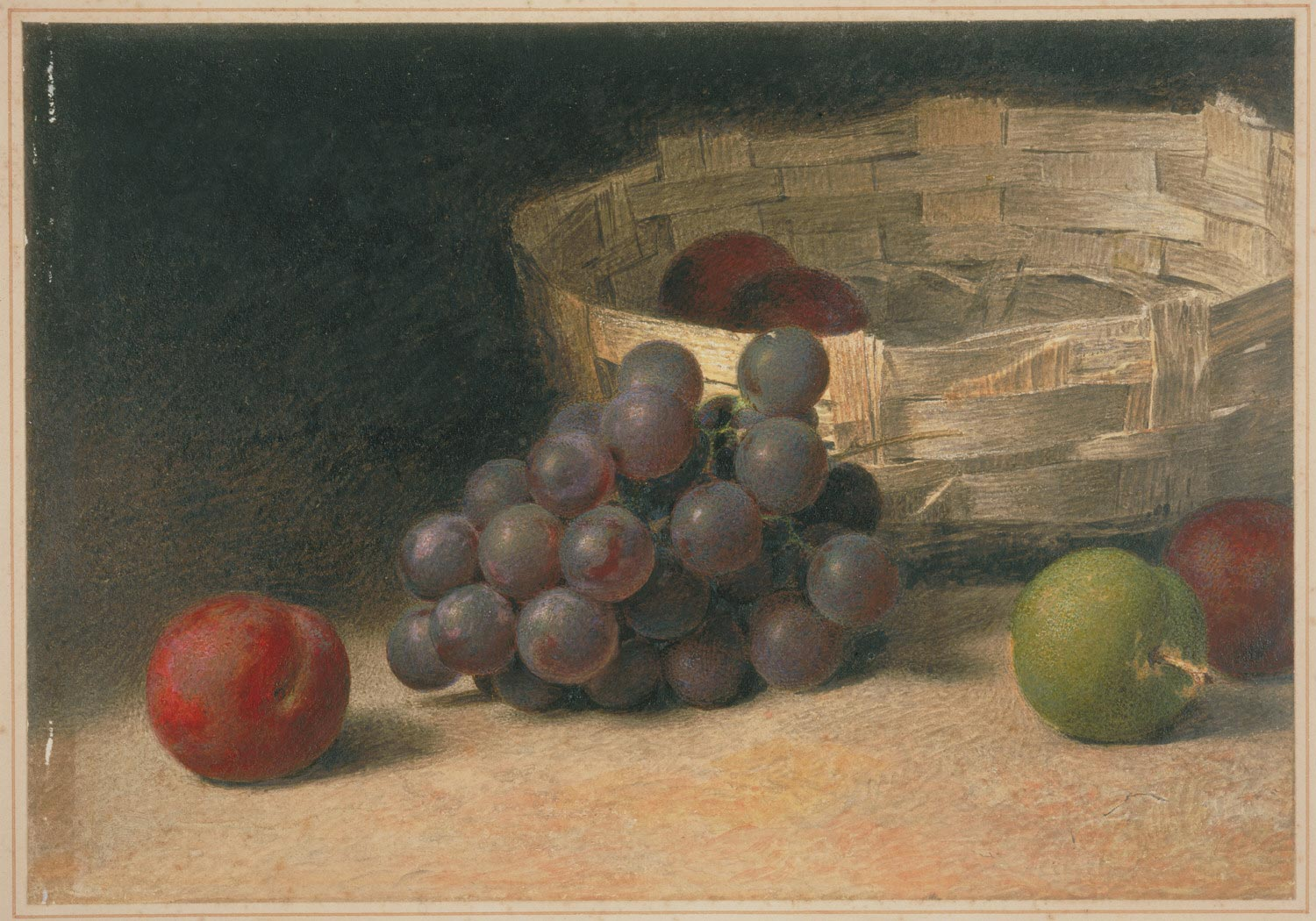 A Basket with Grapes and Plums