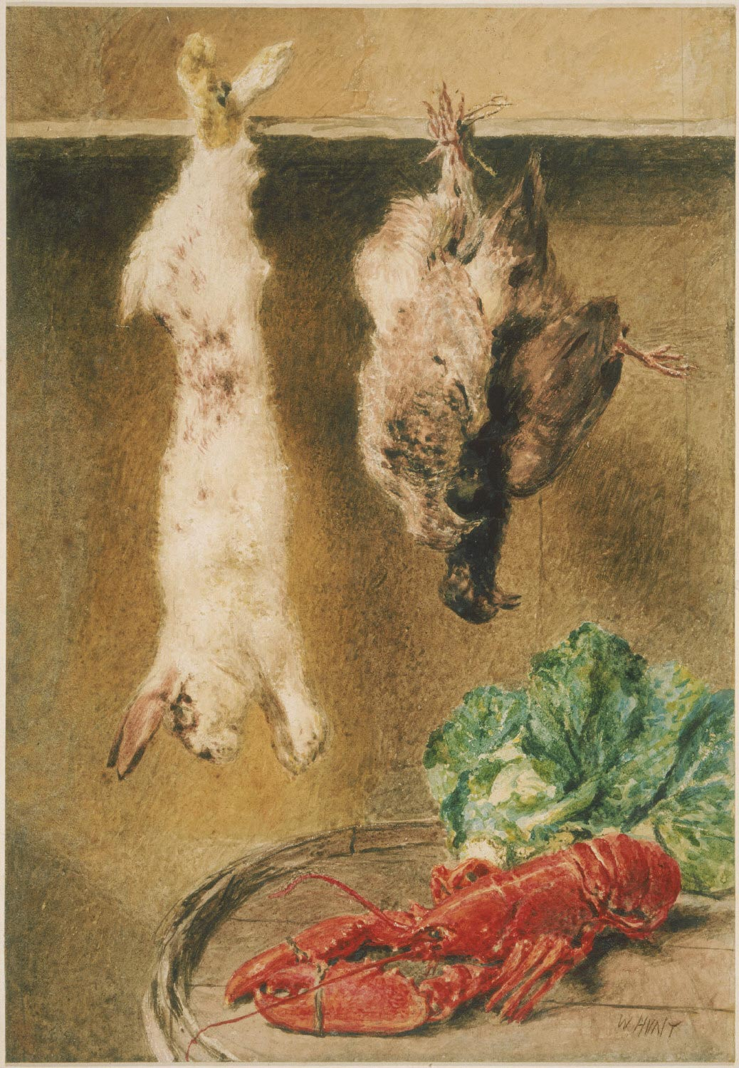 Dead Game Hanging, with Lobster and Cabbage on a Barrel