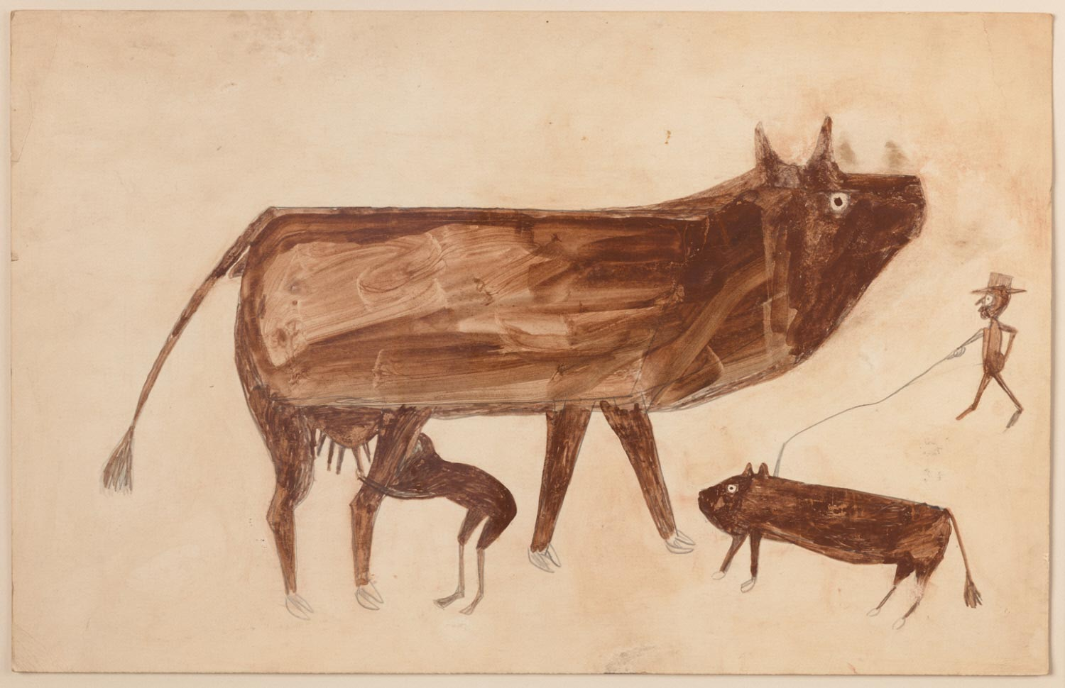 Farm Scene with Cow and Man