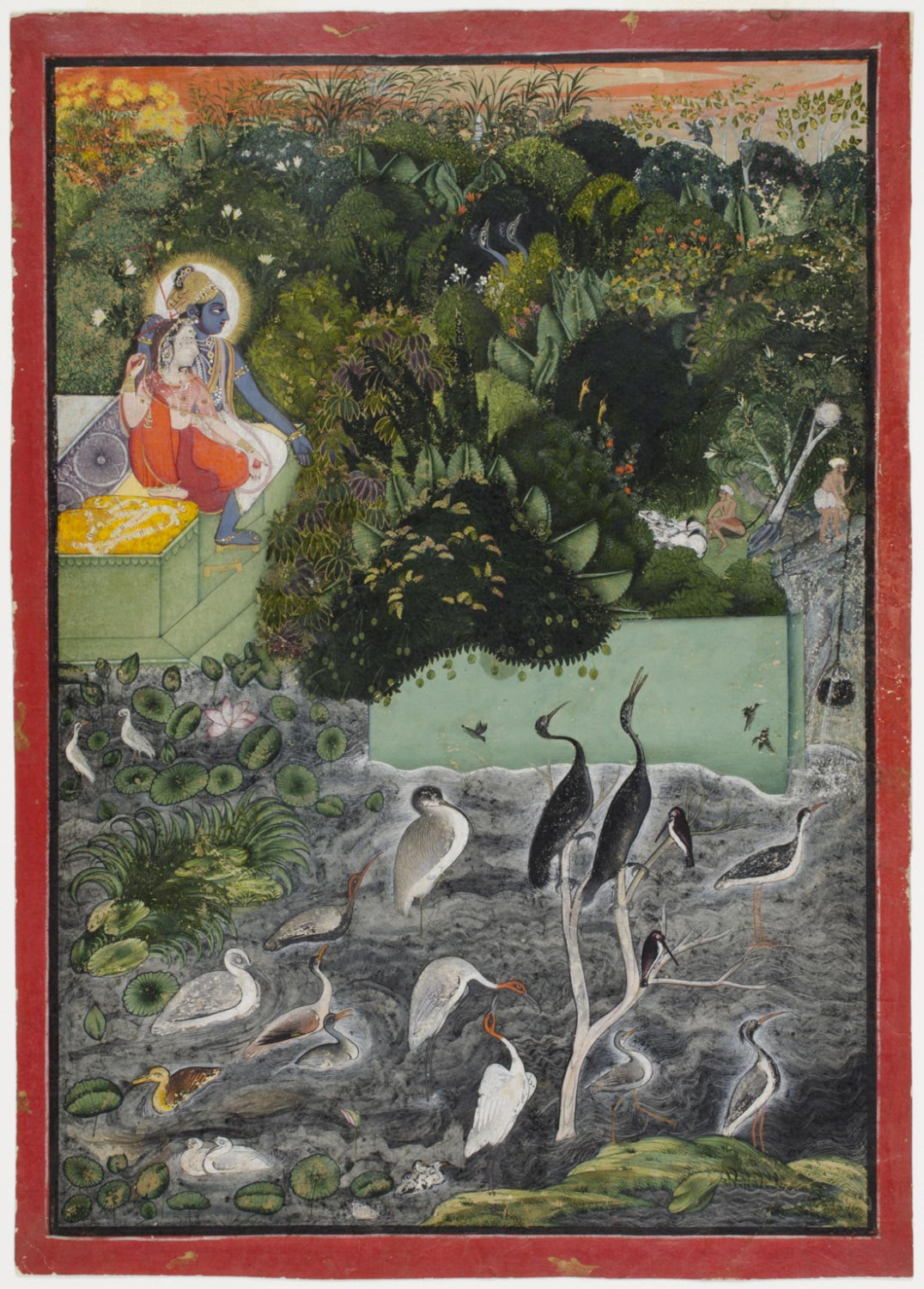 Radha and Krishna beside a Lake at Sunset