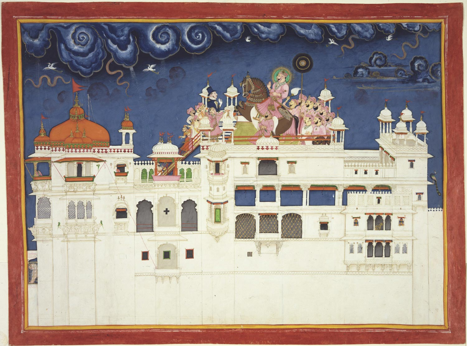 Maharao Ram Singh II of Kota Riding His Horse on the Palace Roof