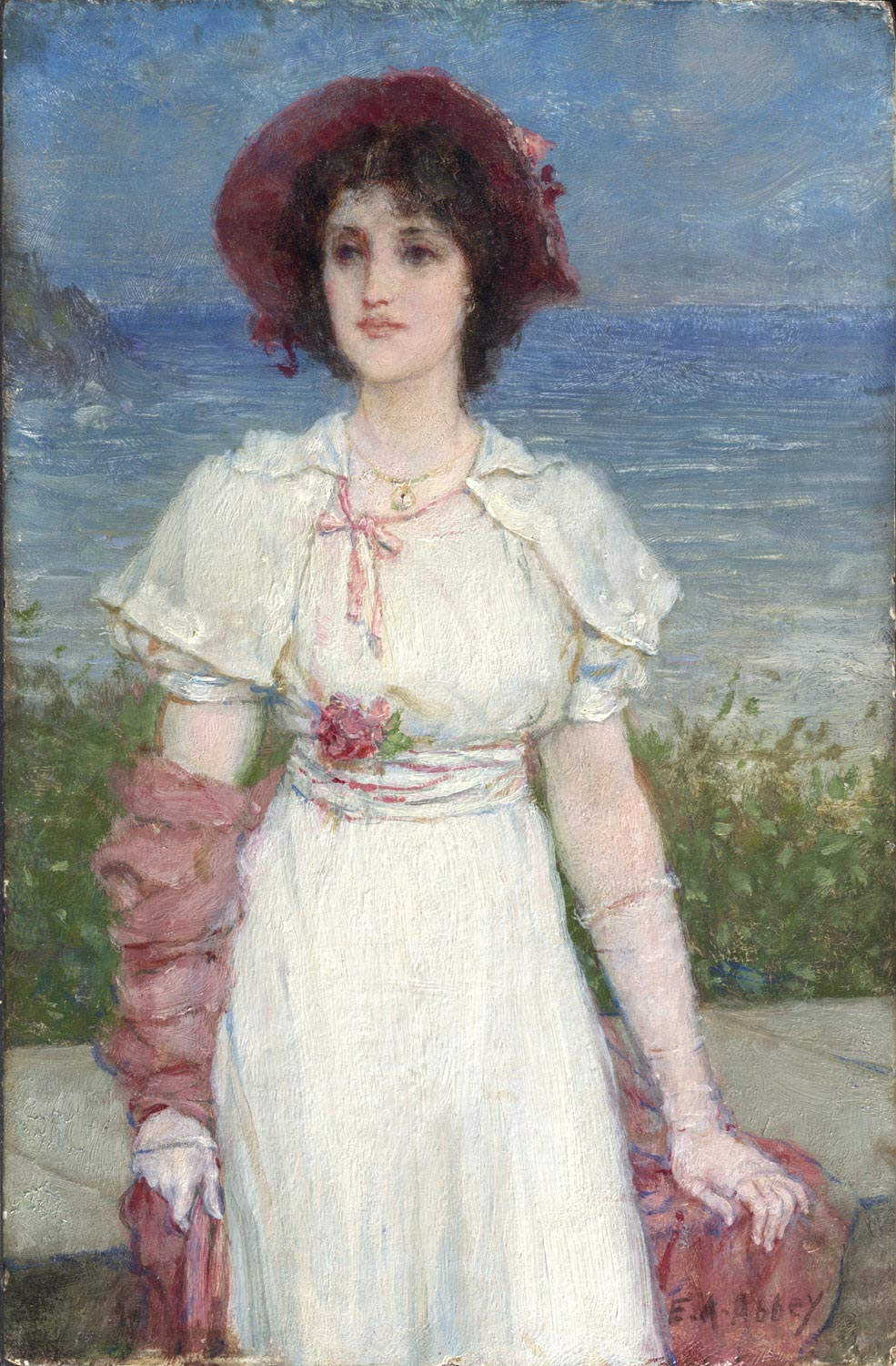 Young Woman in White by the Sea