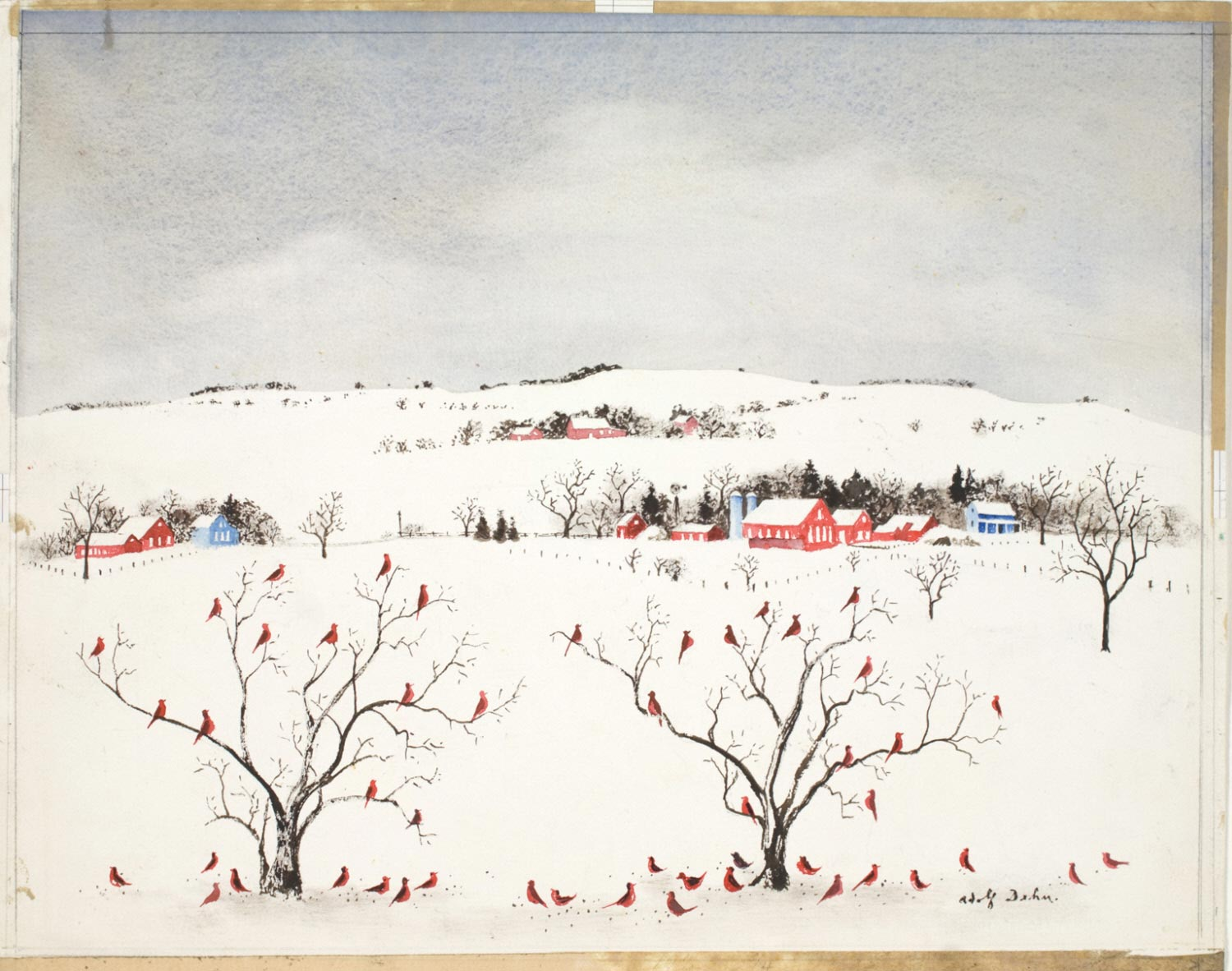 Red Birds in Snow