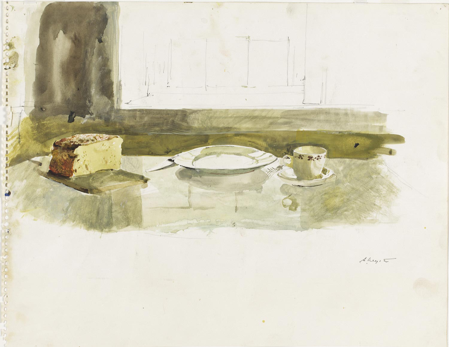 Groundhog Day Study (Table with Bread and Place Setting)