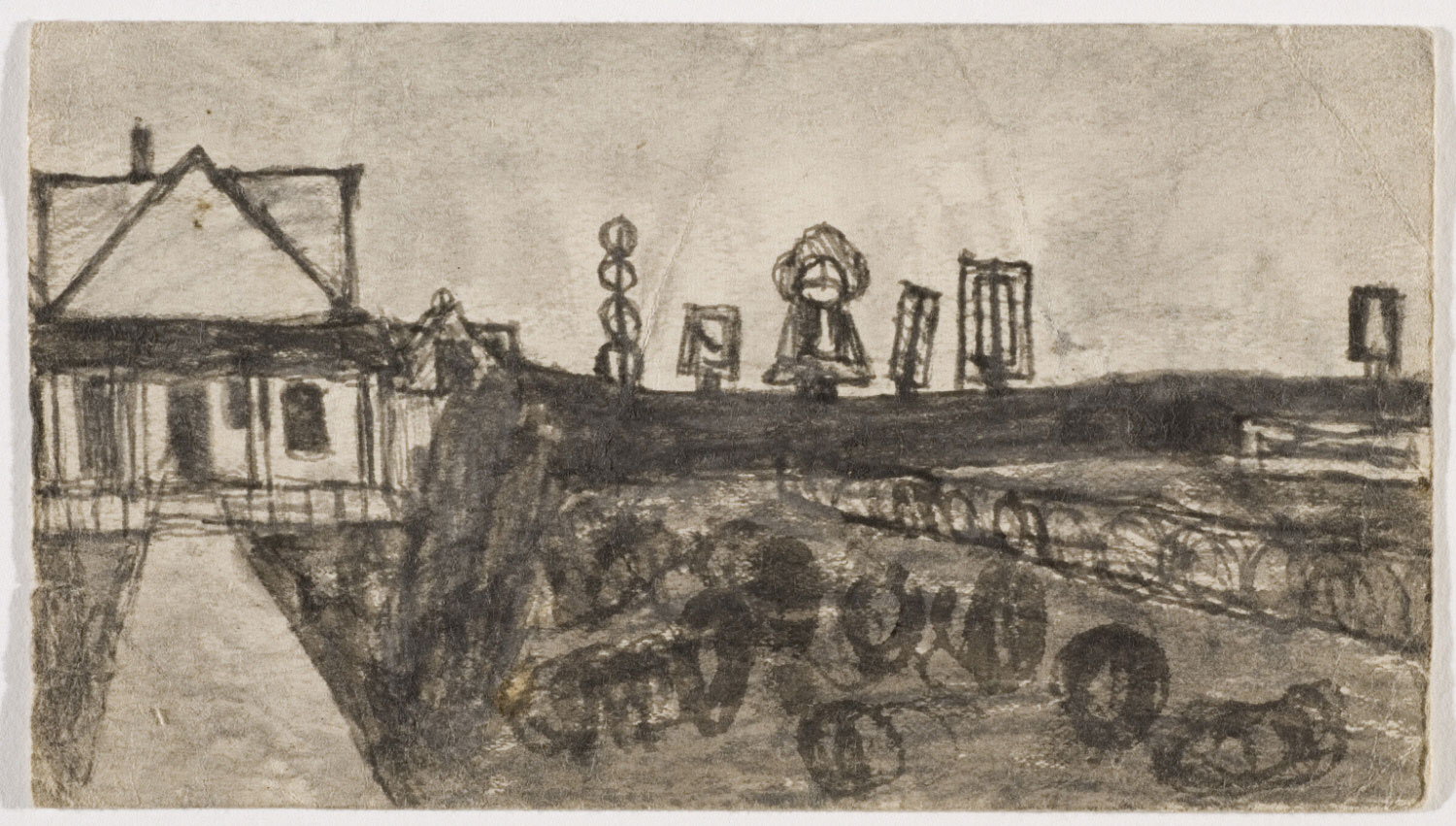 Untitled (Farmscape with house, totems, and