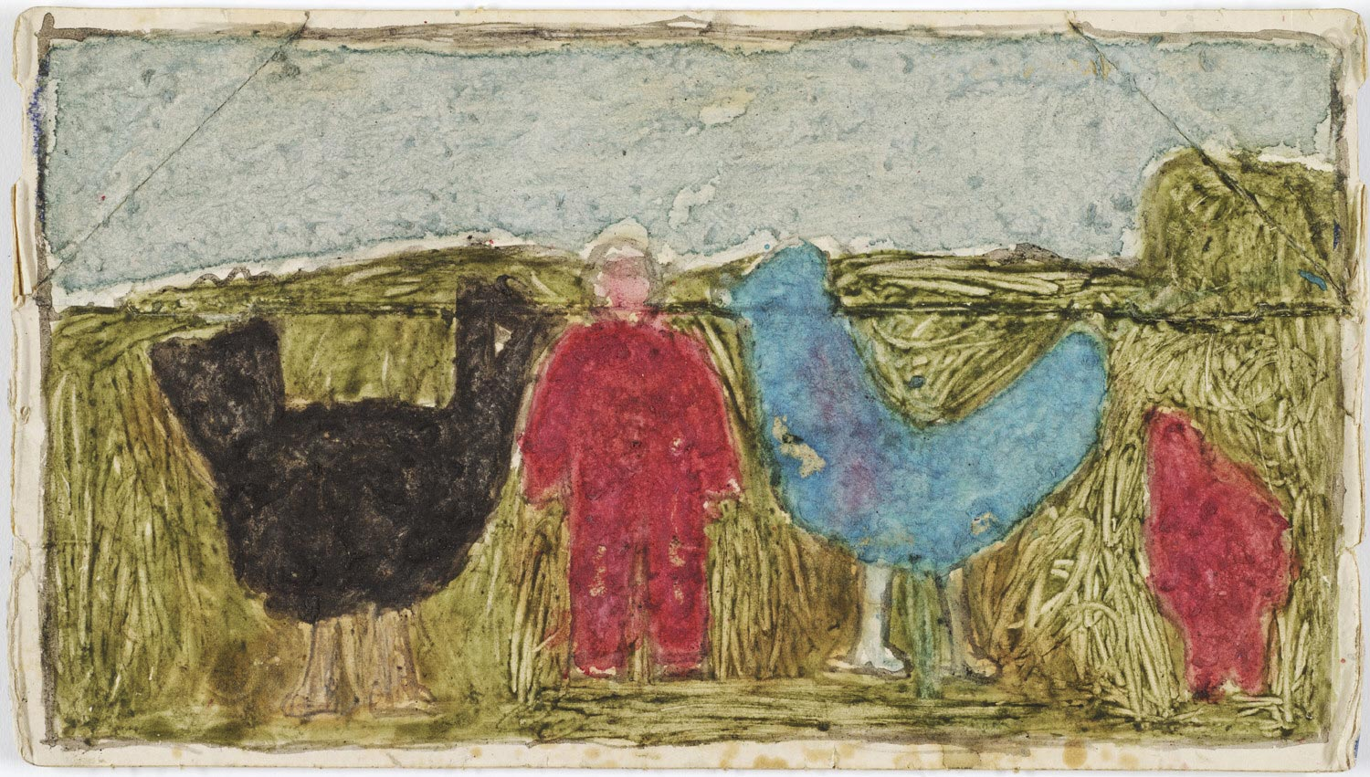 Untitled (Man in red between two giant chickens)