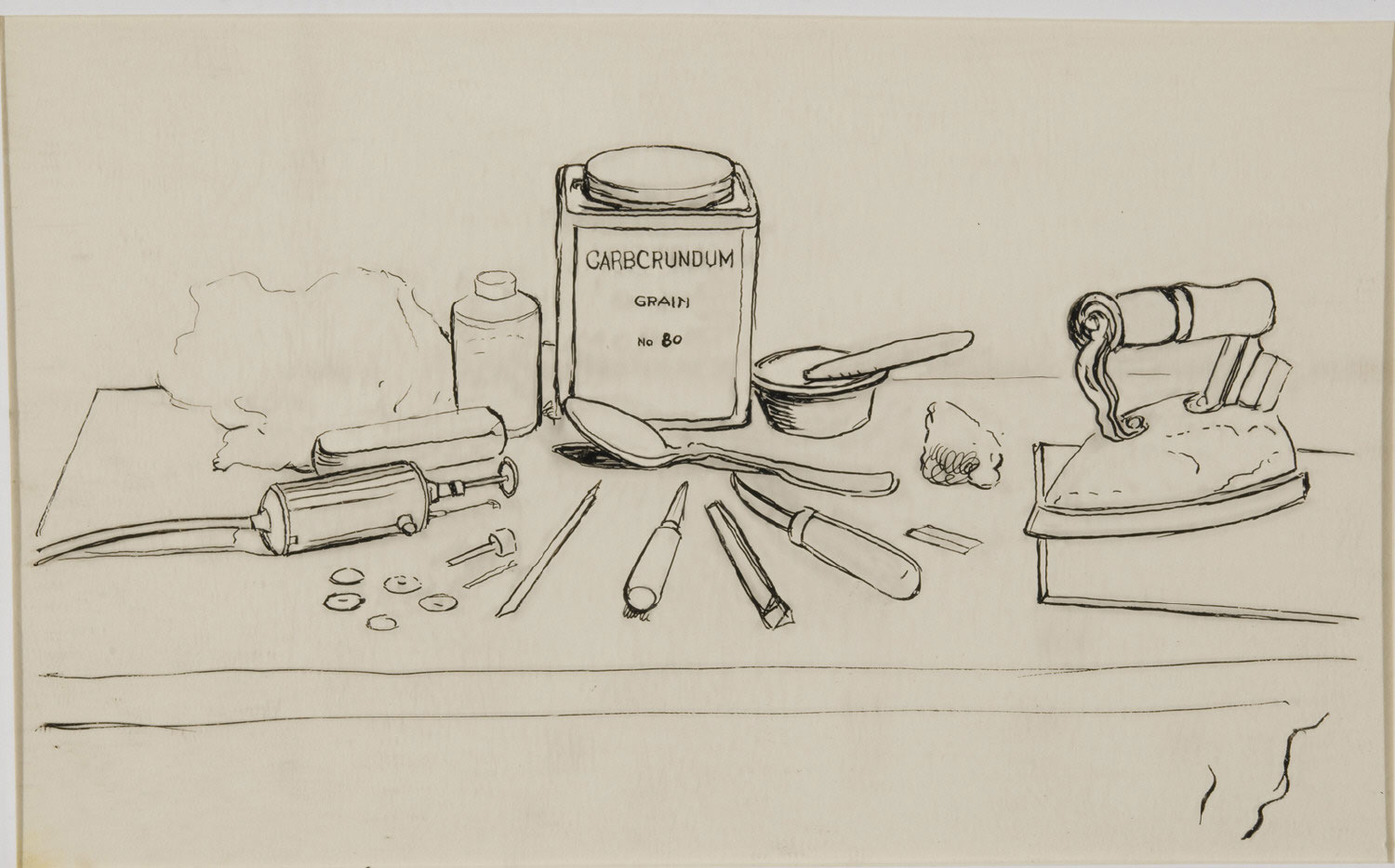 Array of Tools and Materials for Making Carborundum Mezzotints