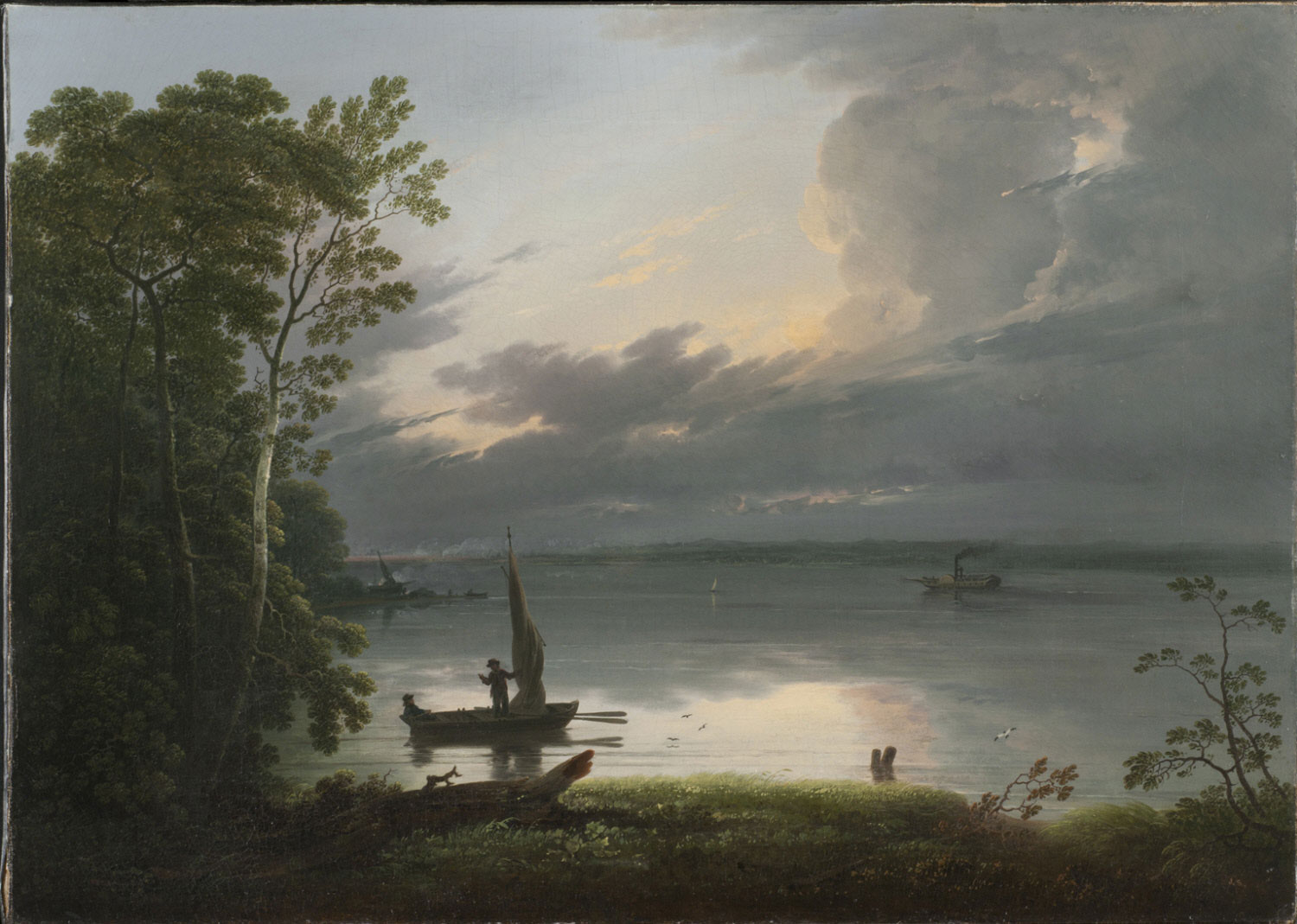 Night Scene (River Scene with Steamboat)