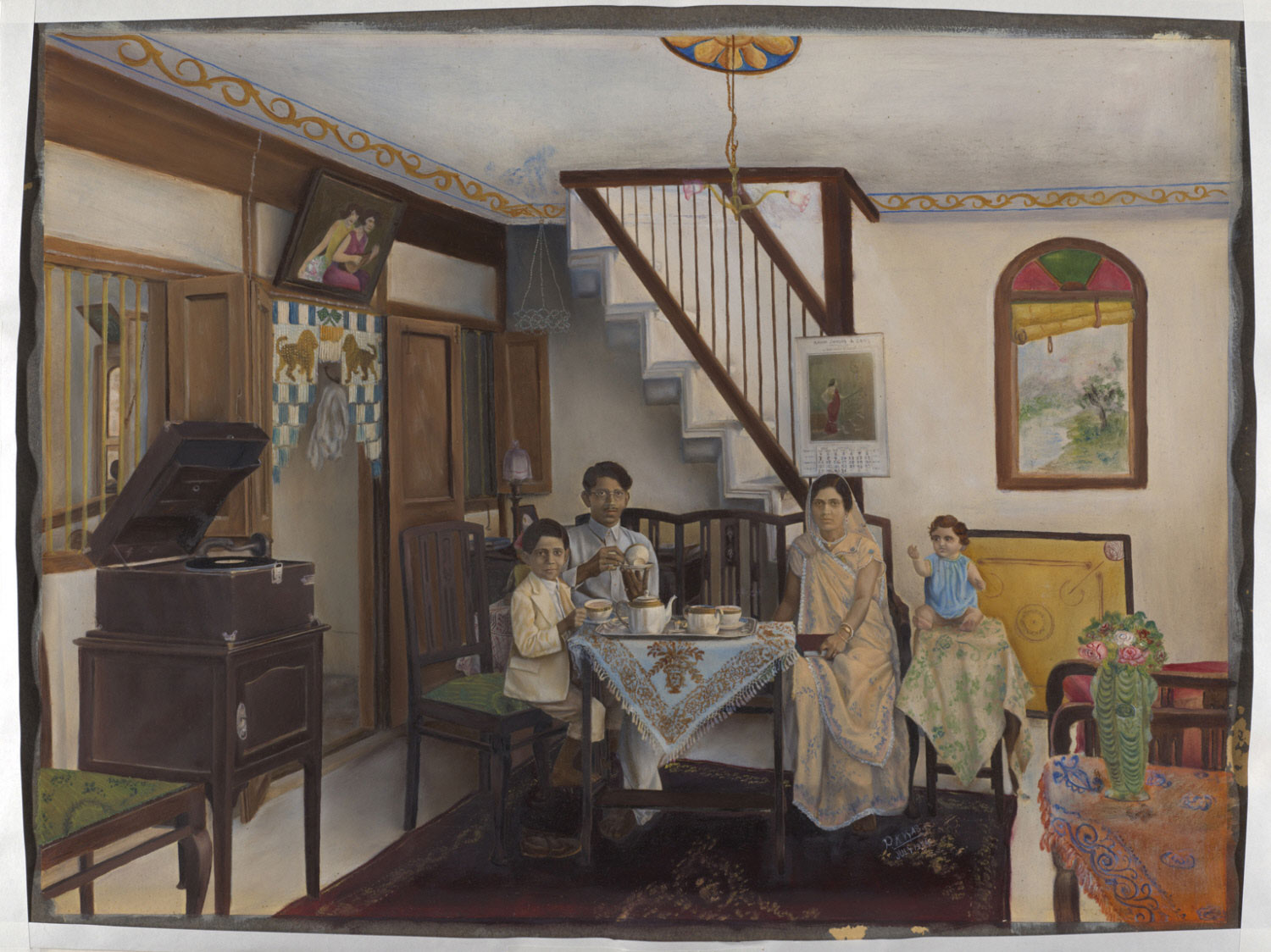 A Parsi Family in their Family Room