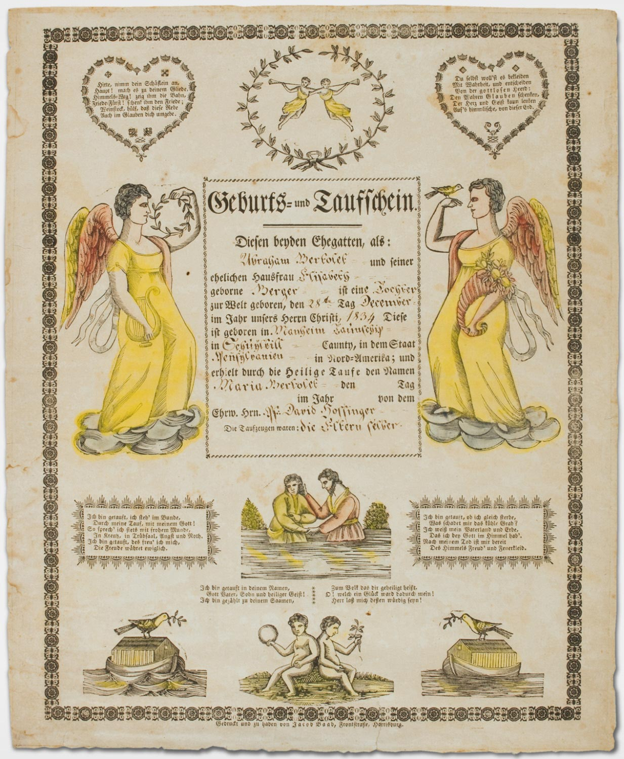 Birth and Baptismal Certificate for Maria Bertolet (born December 28, 1834)