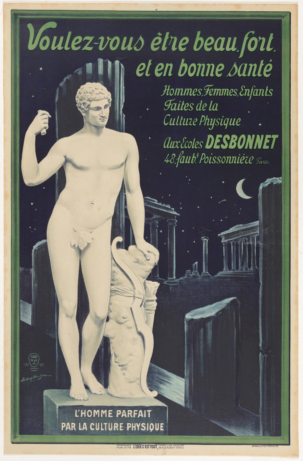 Do You Want to Be Handsome, Strong, and in Good Health? Men, Women, Children - Take up Physical Culture at the Écoles Desbonnet (48, Faubourg Poissonière, Paris)