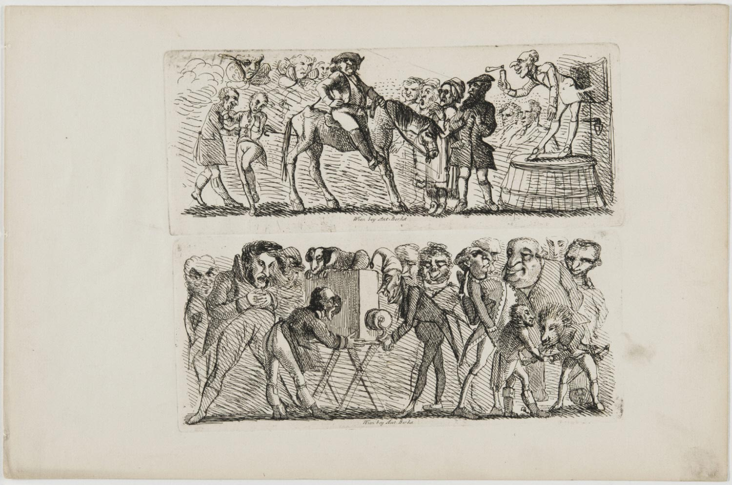 a) A Caricature of an Itinerant Quack Holding up a Bottle of Medicine in front of a Group of Men; b) Caricature of a Group of Men Surrounding a Portable Peep Show