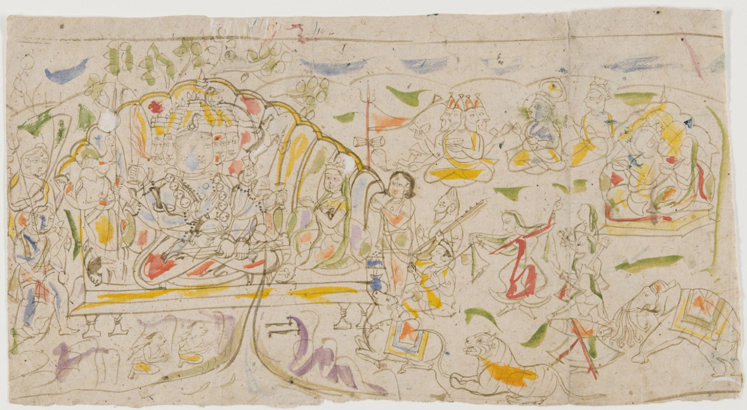 A Celebration of Shiva (recto); A Sheet of Sketches (verso)
