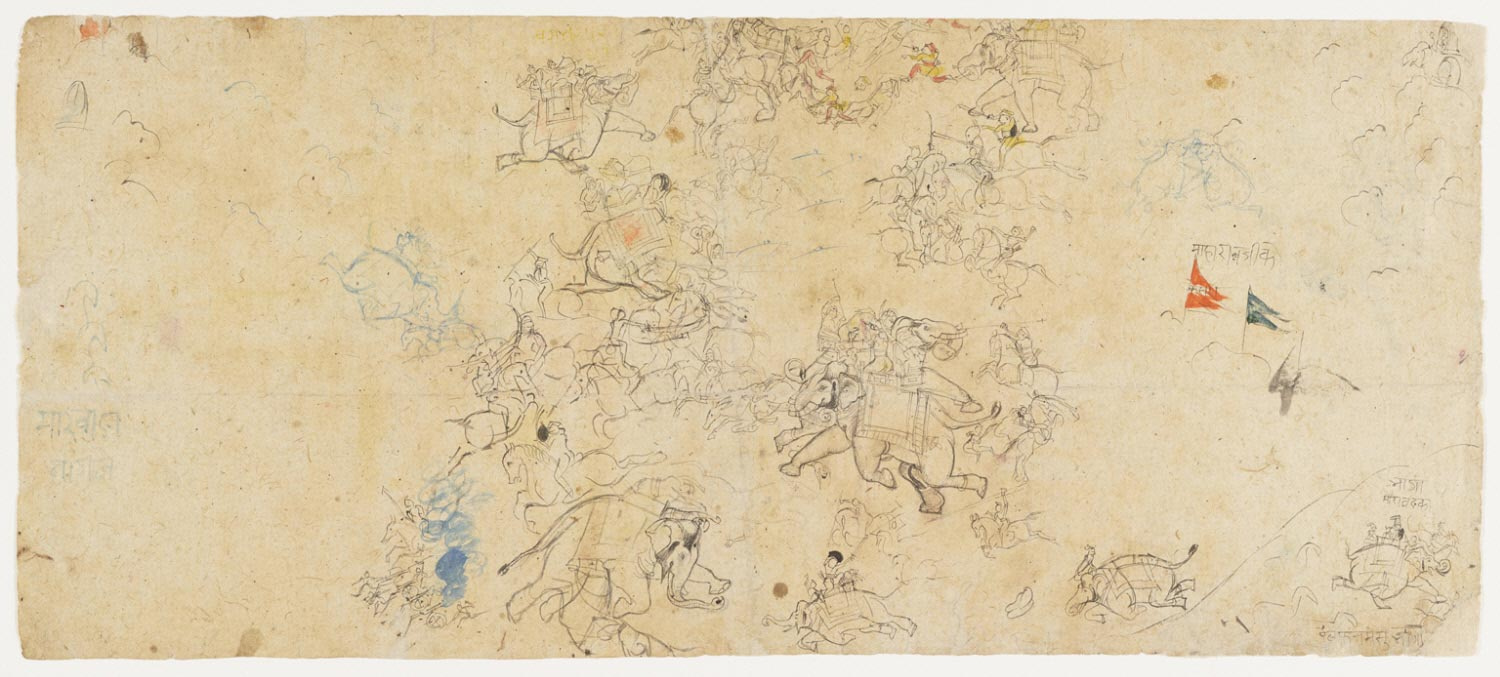 Elephant Battle Scene (recto); Sketches of Several Court Scenes and a British Officer (verso)