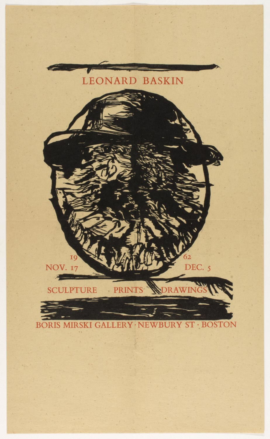 Announcement for Leonard Baskin: Sculpture - Prints - Drawings, Boris Mirski Gallery, Boston