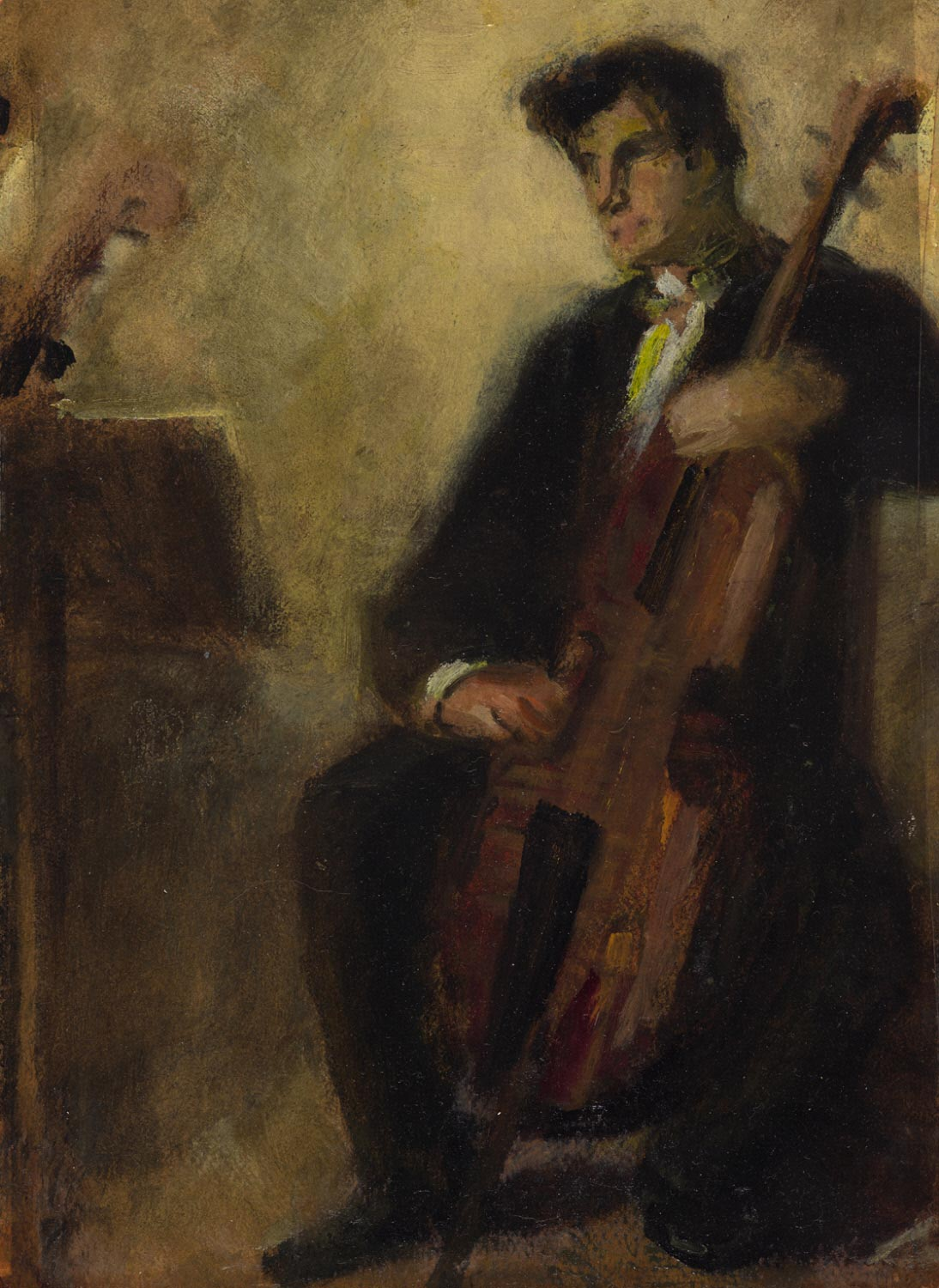 Study of a Cello Player (Double Sided)