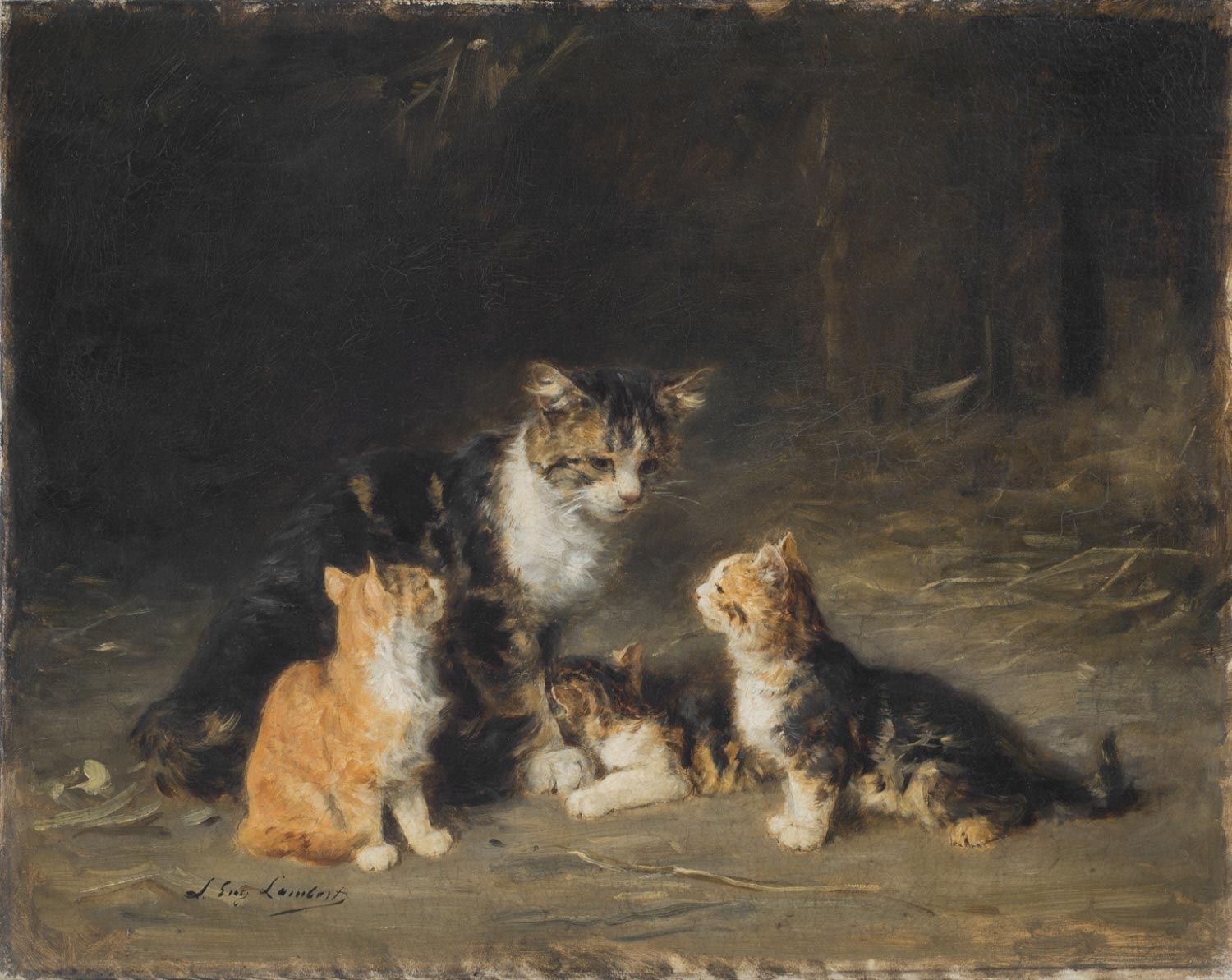 A Cat and Three Kittens