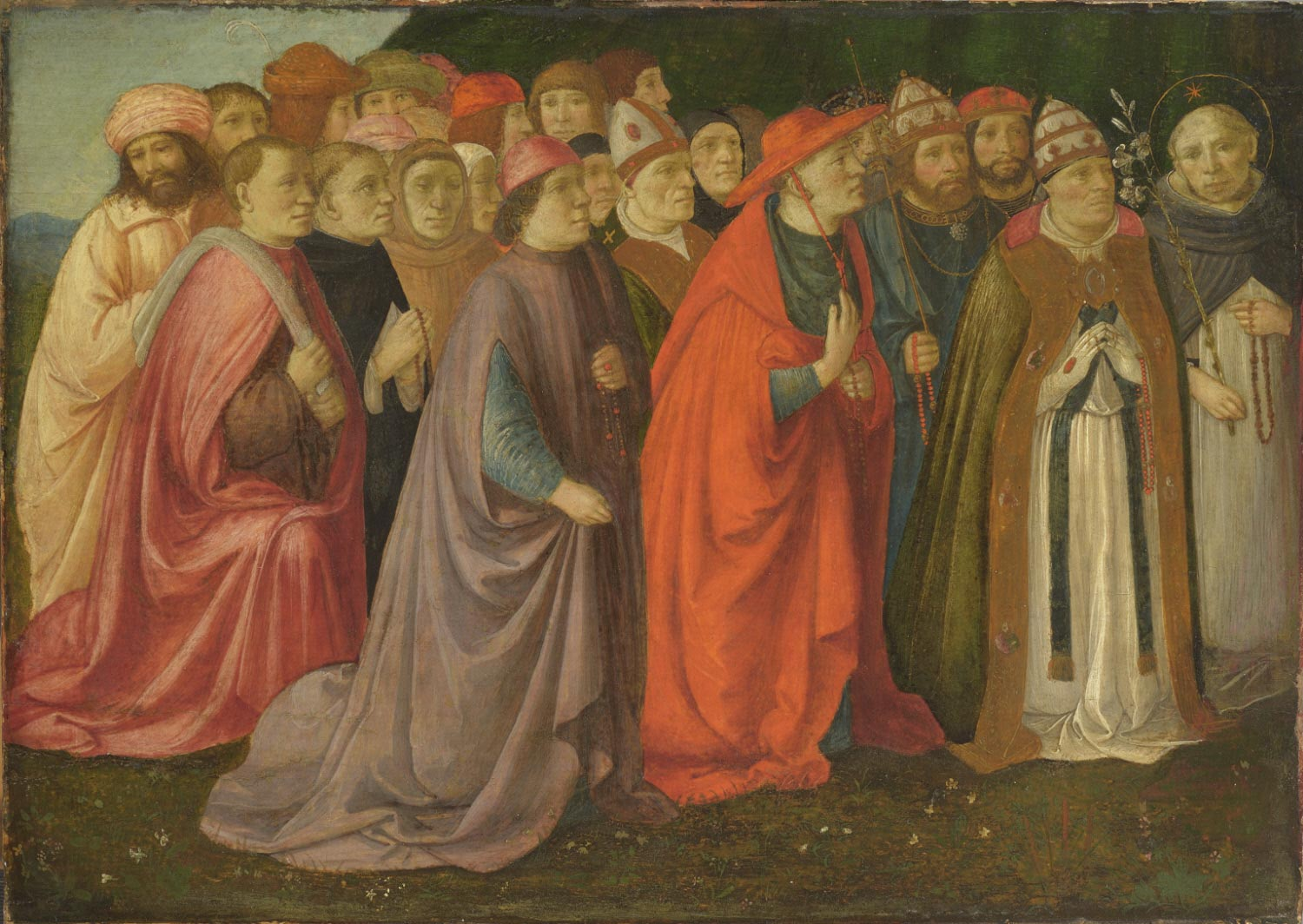 Fragment of a painting showing Men with Rosaries